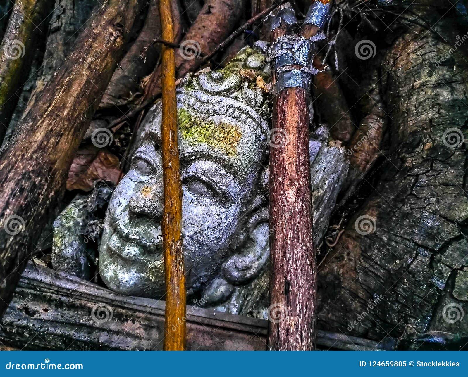 Статуя головы Будды крупного плана старая