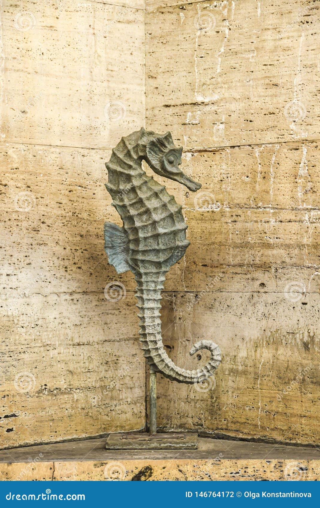 Статуя лошади моря на стене предпосылки каменной фонтана туфа