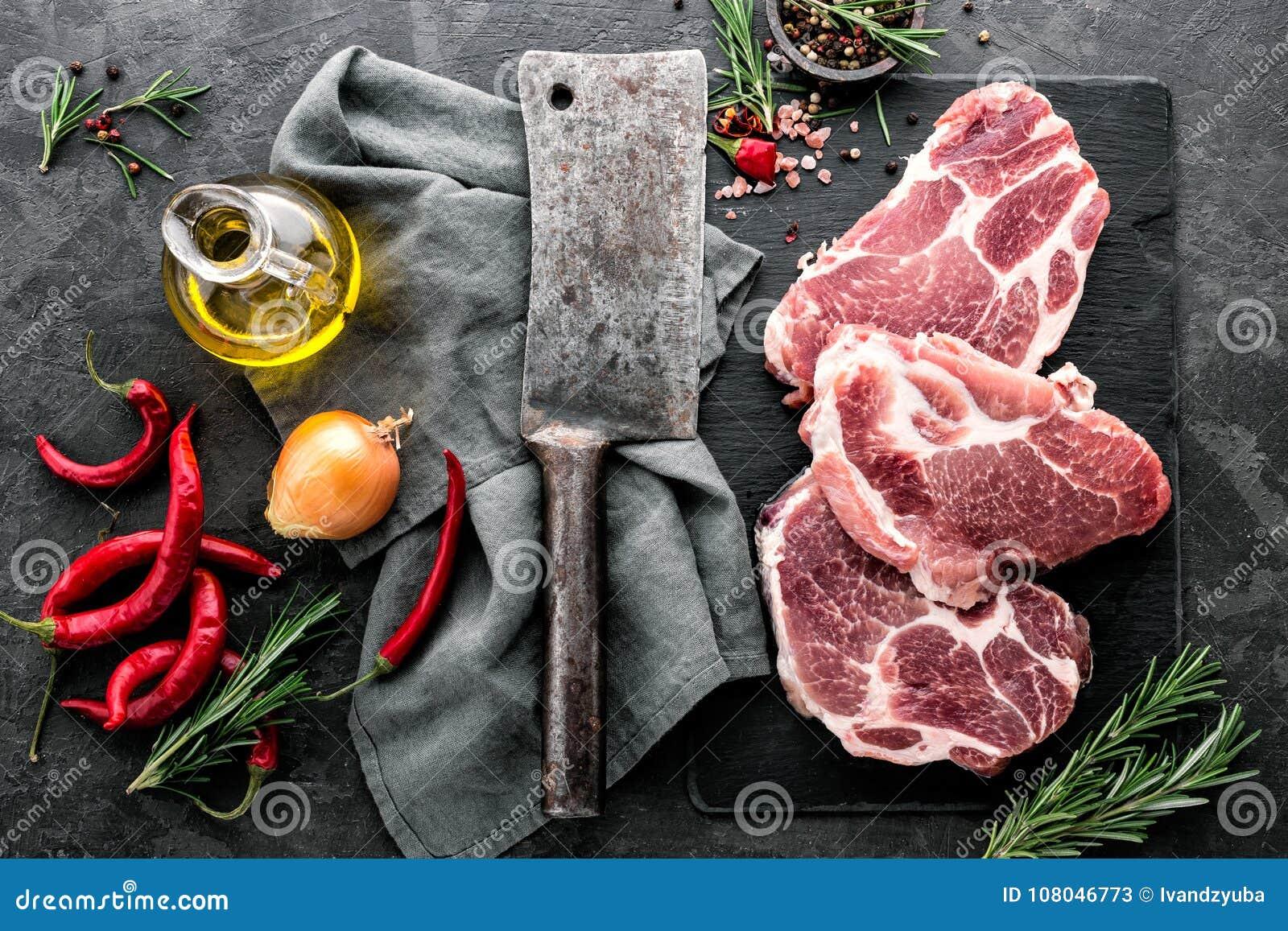 Стейки от сырцового мяса свинины