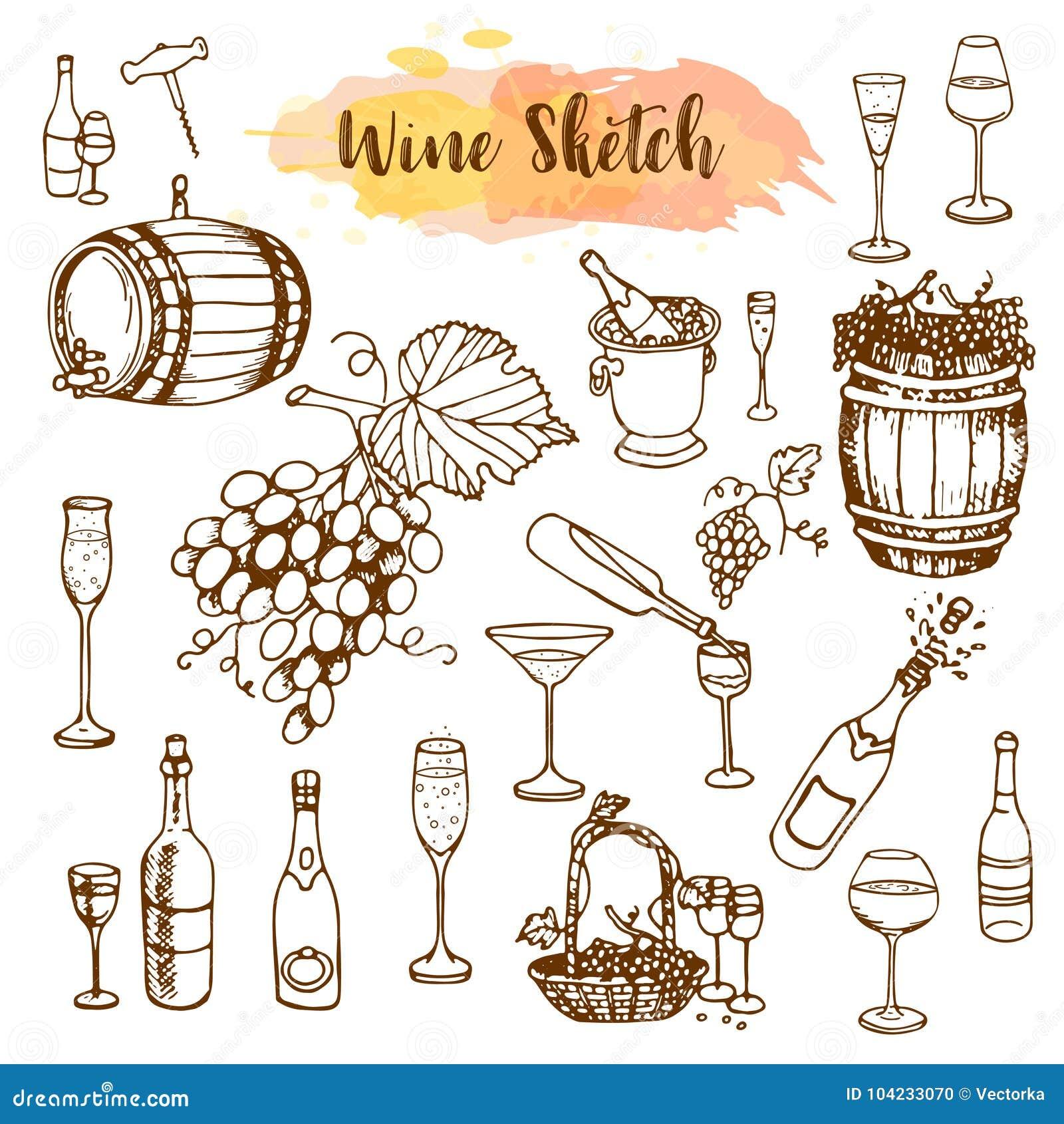 стекла бутылок установили белое вино 7 6 Продукты виноделия в стиле эскиза Установленные алкогольные напитки нарисованные рукой И