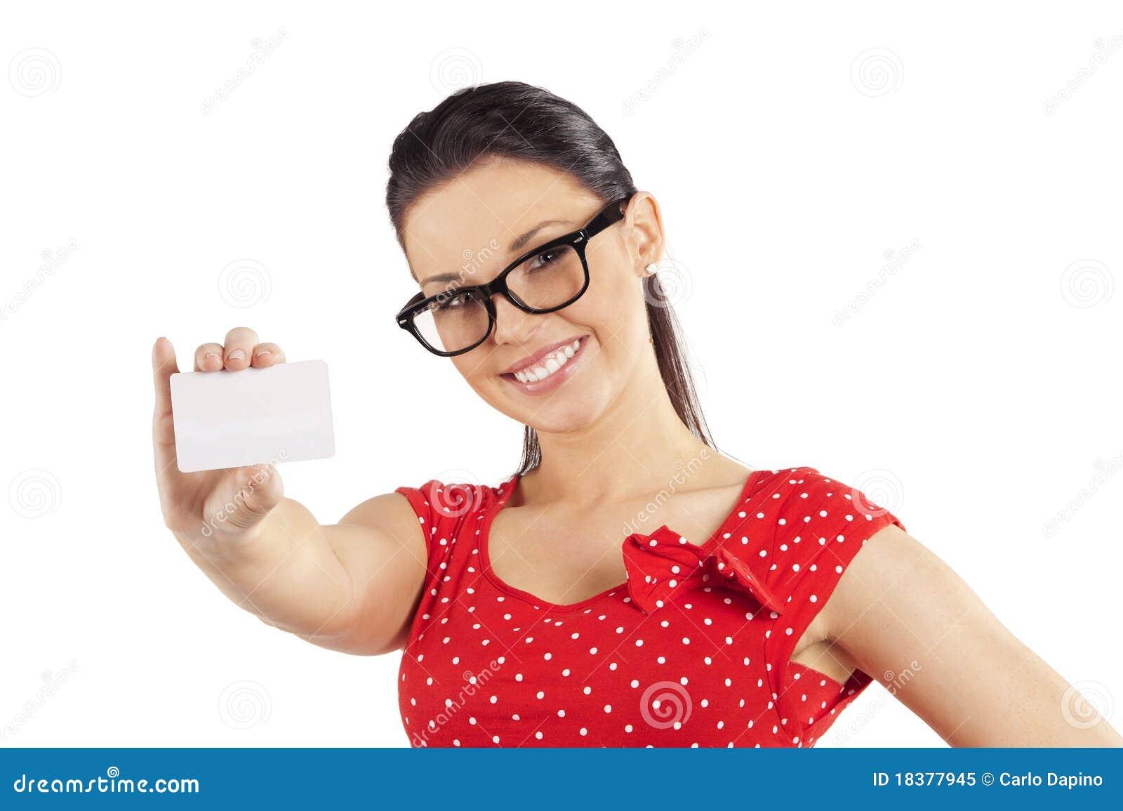 стекла карточки показывая женщину
