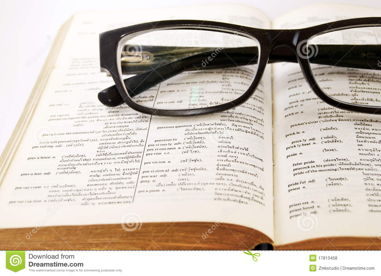 стекла словаря крупного плана старые