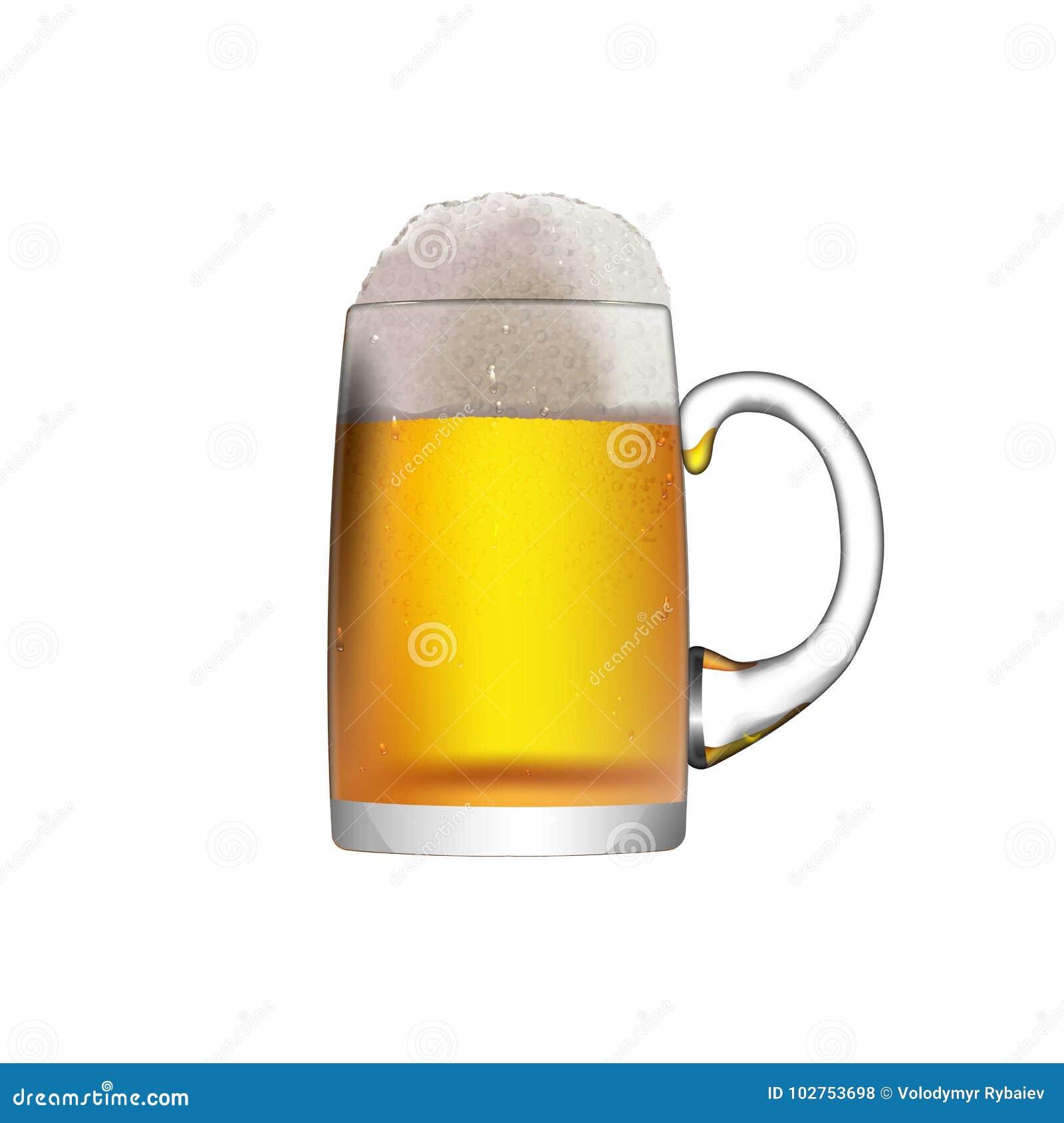 Стеклянная кружка при пиво изолированное на белой предпосылке
