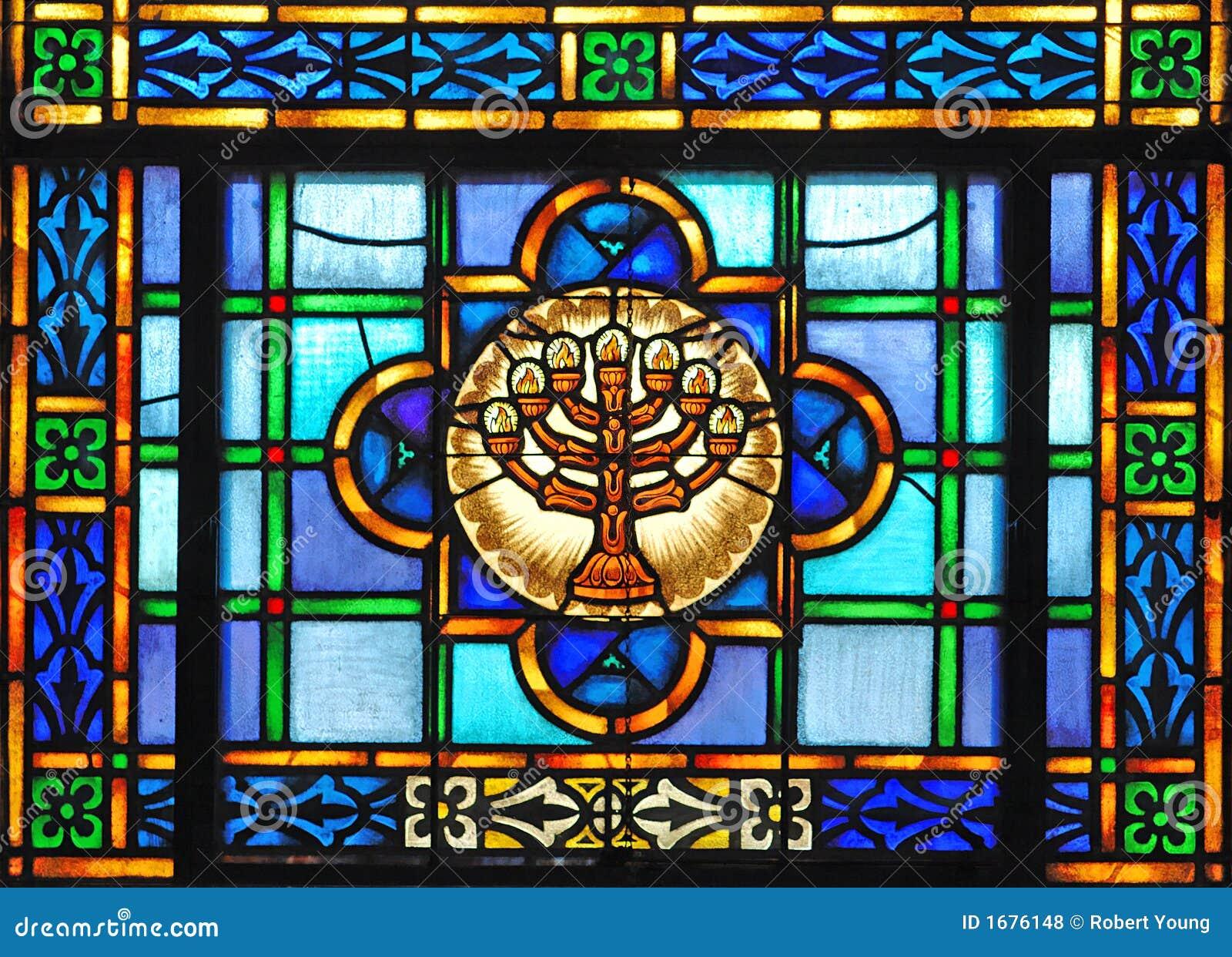 стеклянное запятнанное menorah