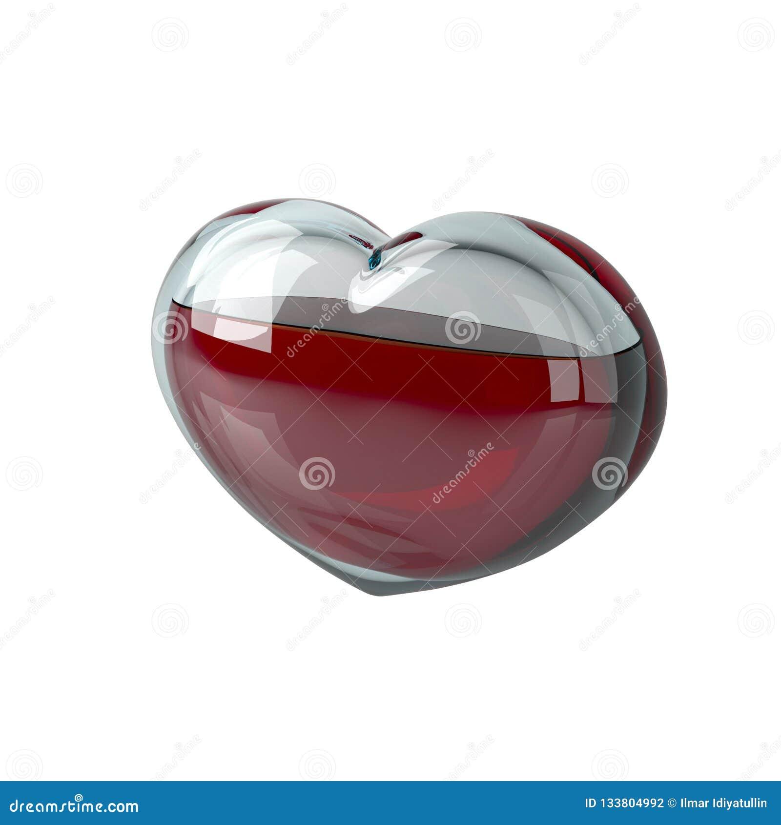 Стеклянное сердце заполнено с красной жидкостью, как кровь на белом
