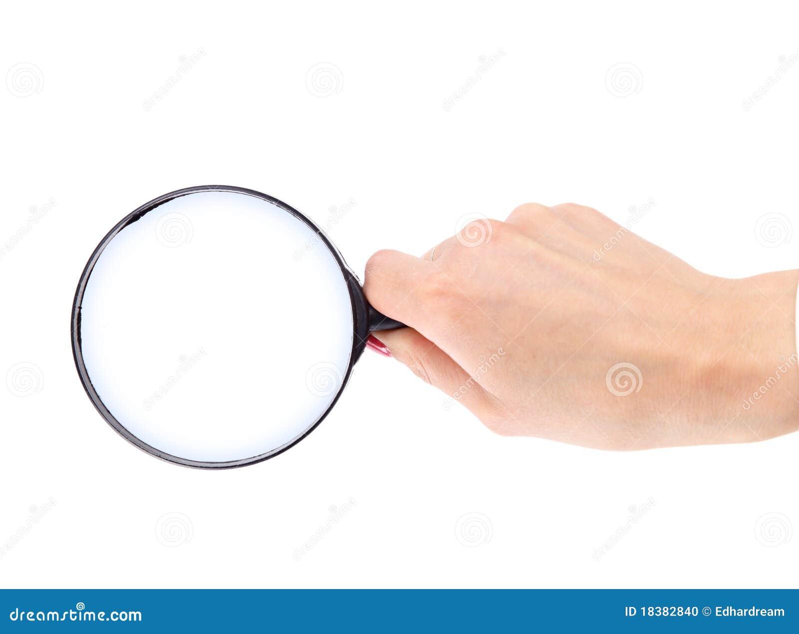 стеклянной увеличивать изолированный рукой