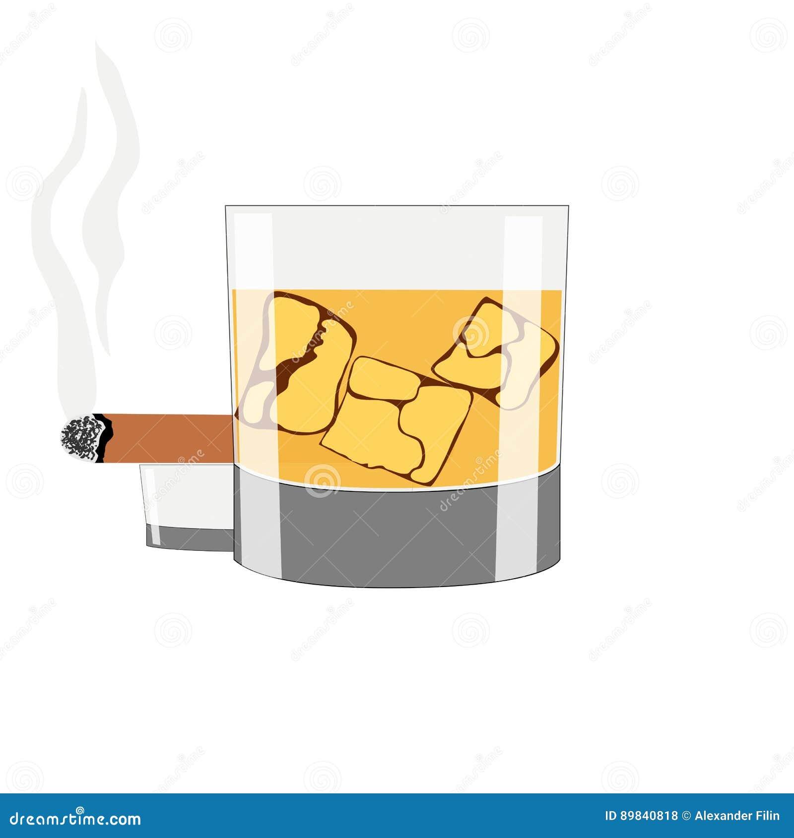 Стекло вискиа с льдом на белой предпосылке Куря сигара на белой предпосылке
