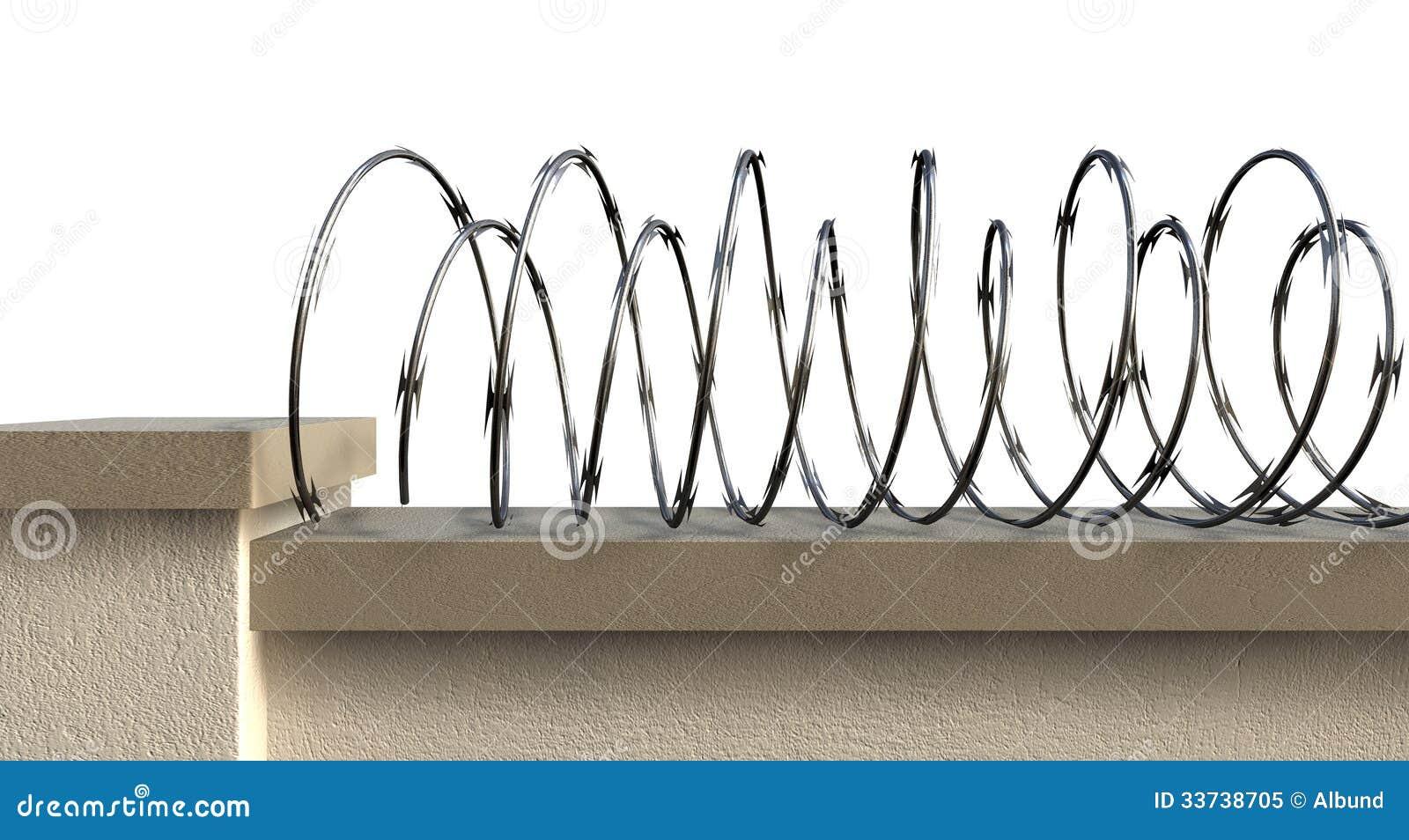 Стена с проводом бритвы