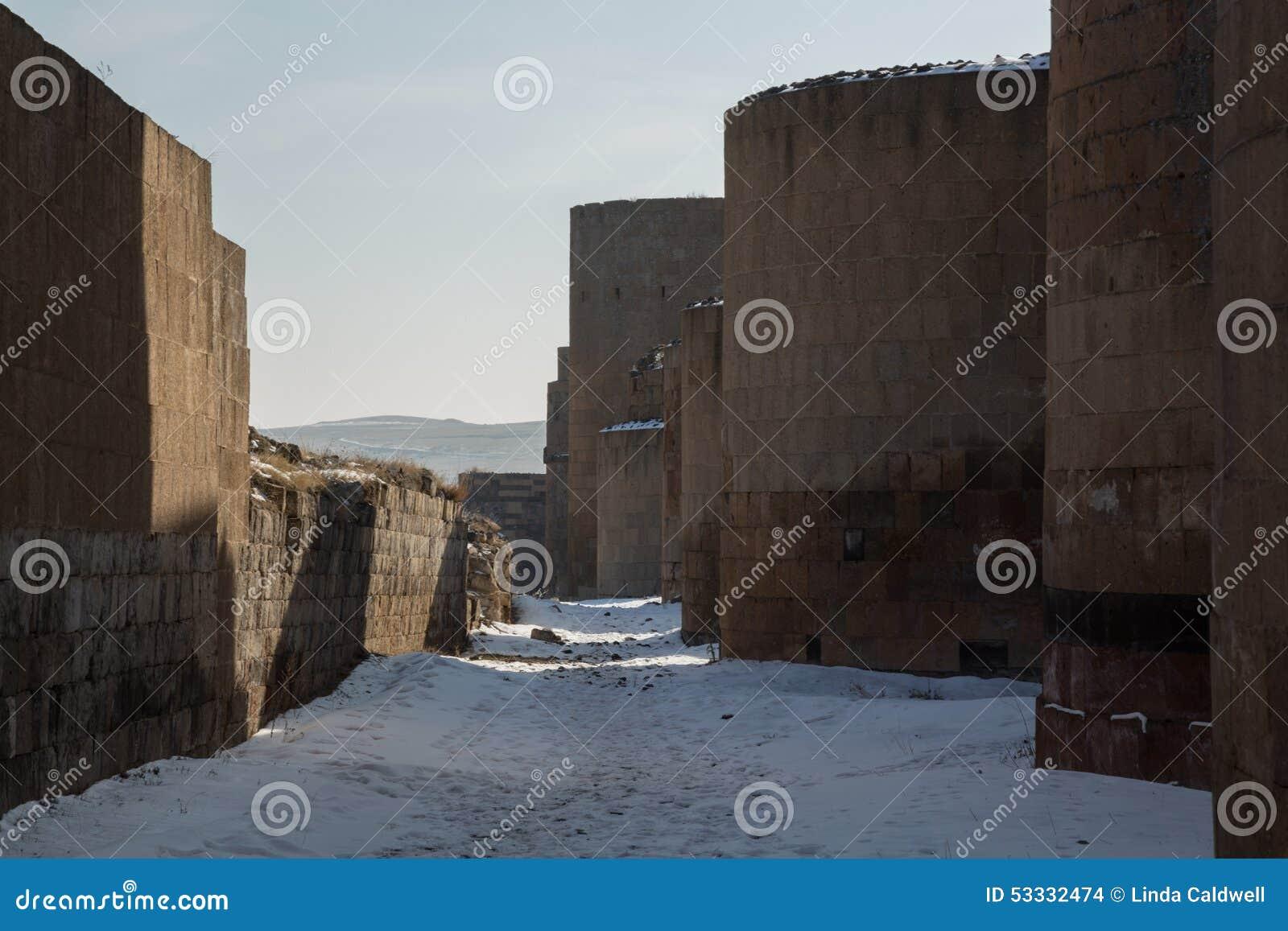 Стены города старого ани, Турции