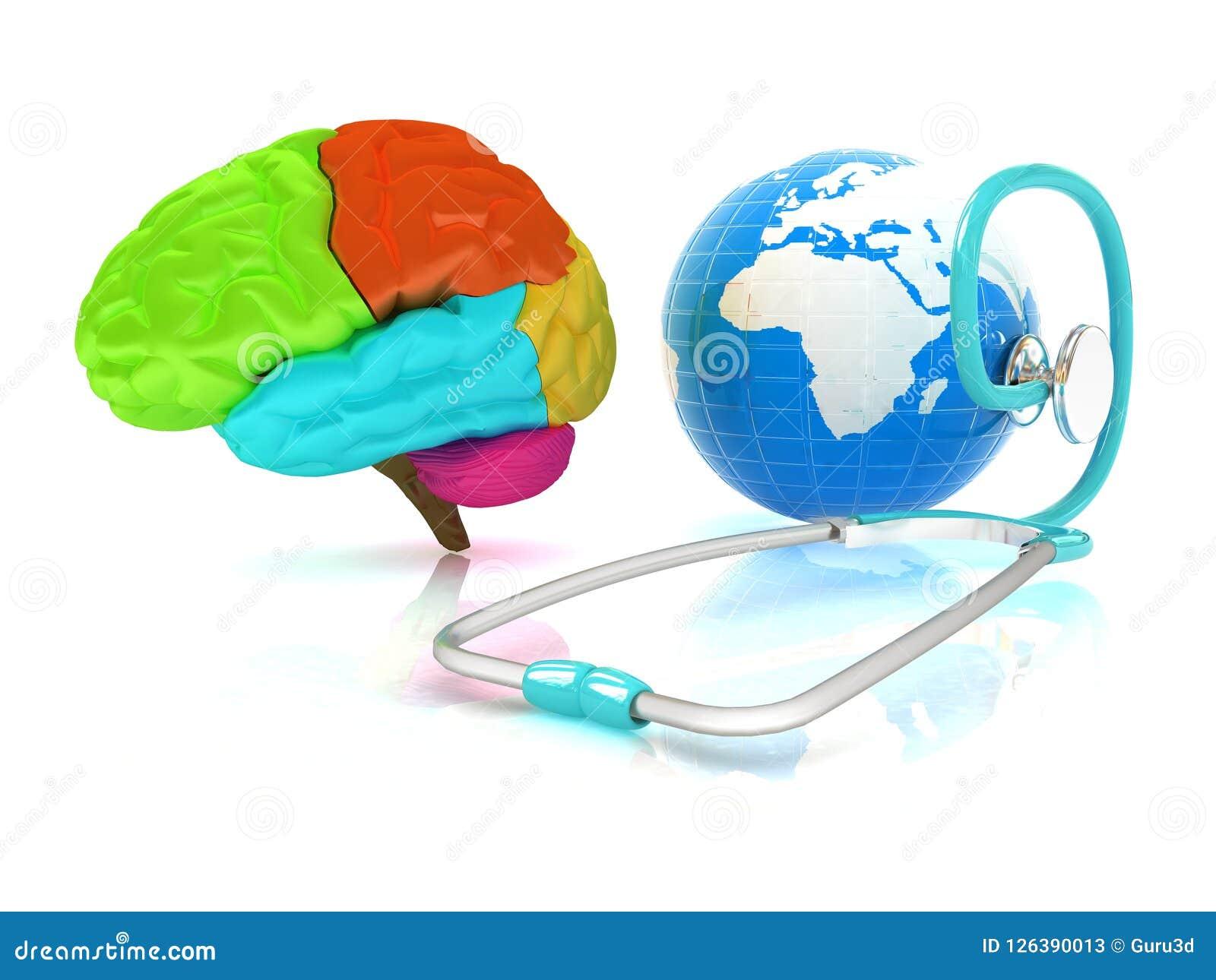 Стетоскоп, глобус, мозг - глобальная медицинская концепция