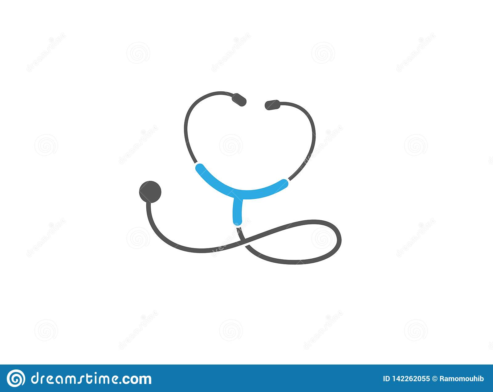 Стетоскоп для логотипа рассмотрения тарифа сердца