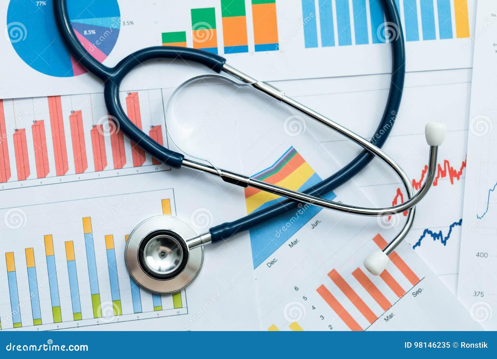 Стетоскоп на stats здравоохранения и диаграммах финансового анализа