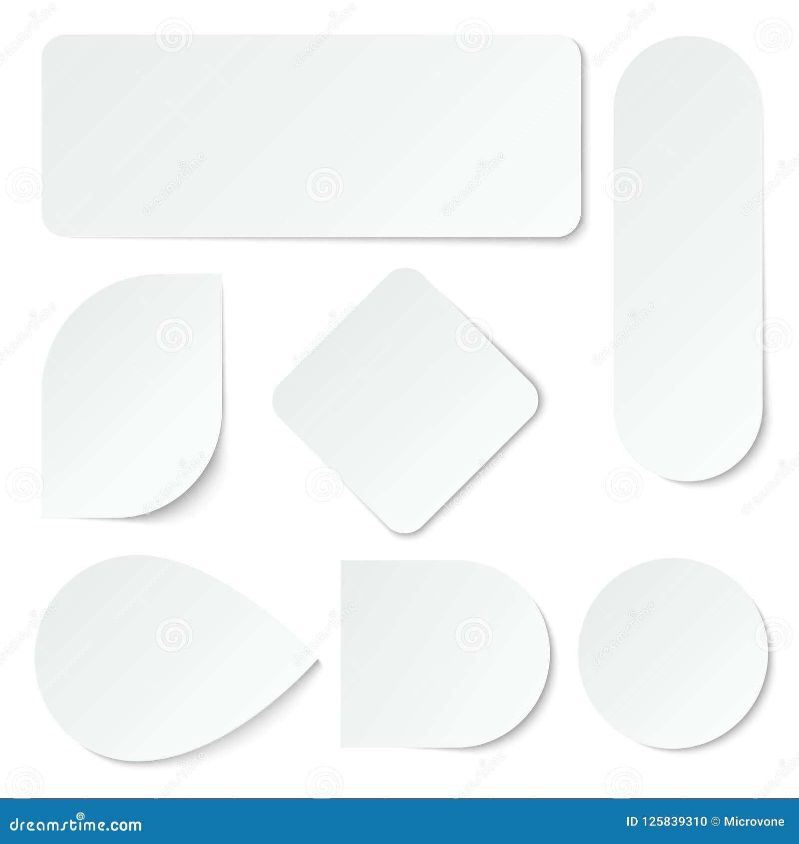 Стикеры белой бумаги Ярлыки пробела, бирки в прямоугольном и округлая форма Изолированный комплект вектора