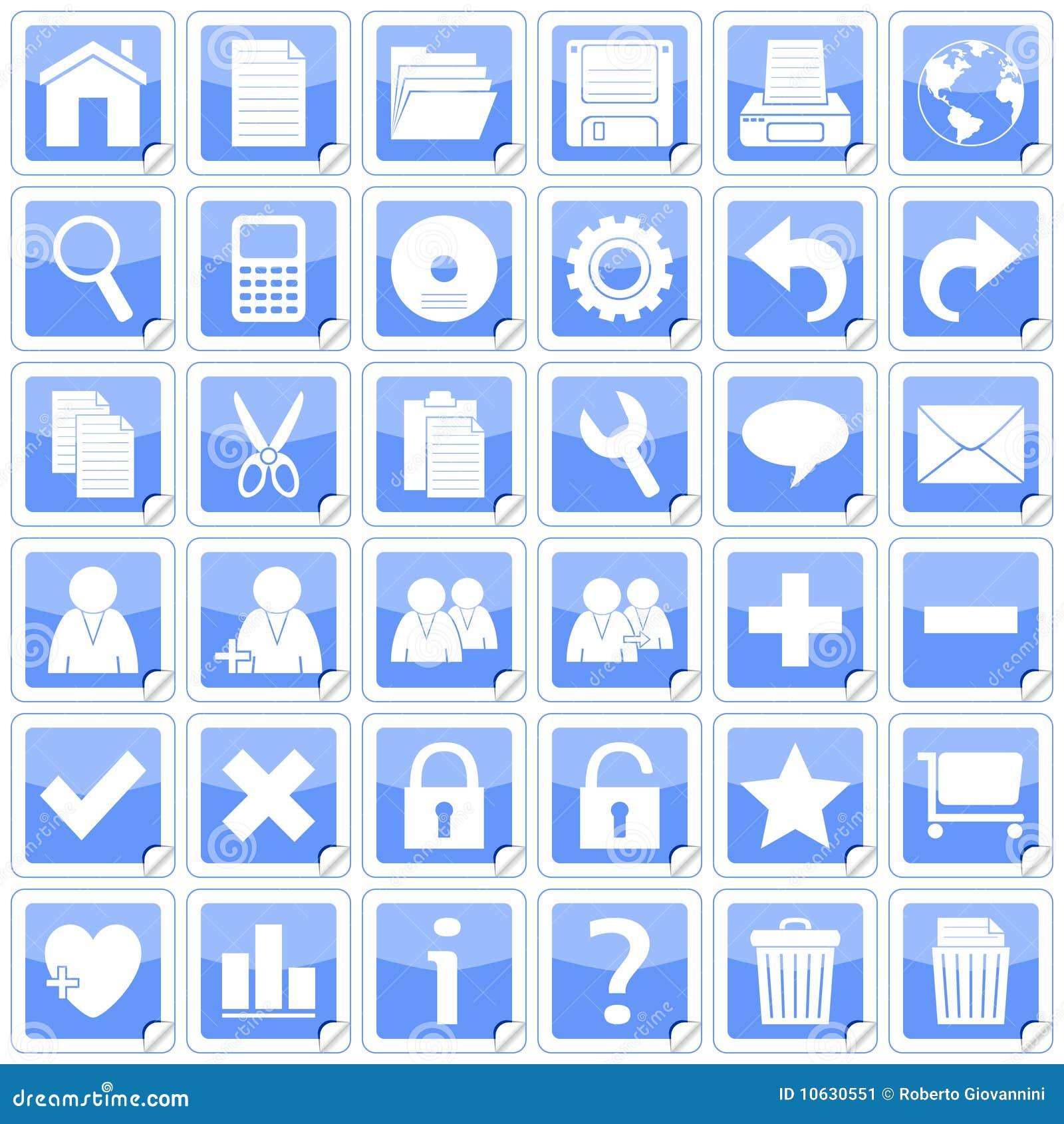 стикеры икон 1 сини квадратные