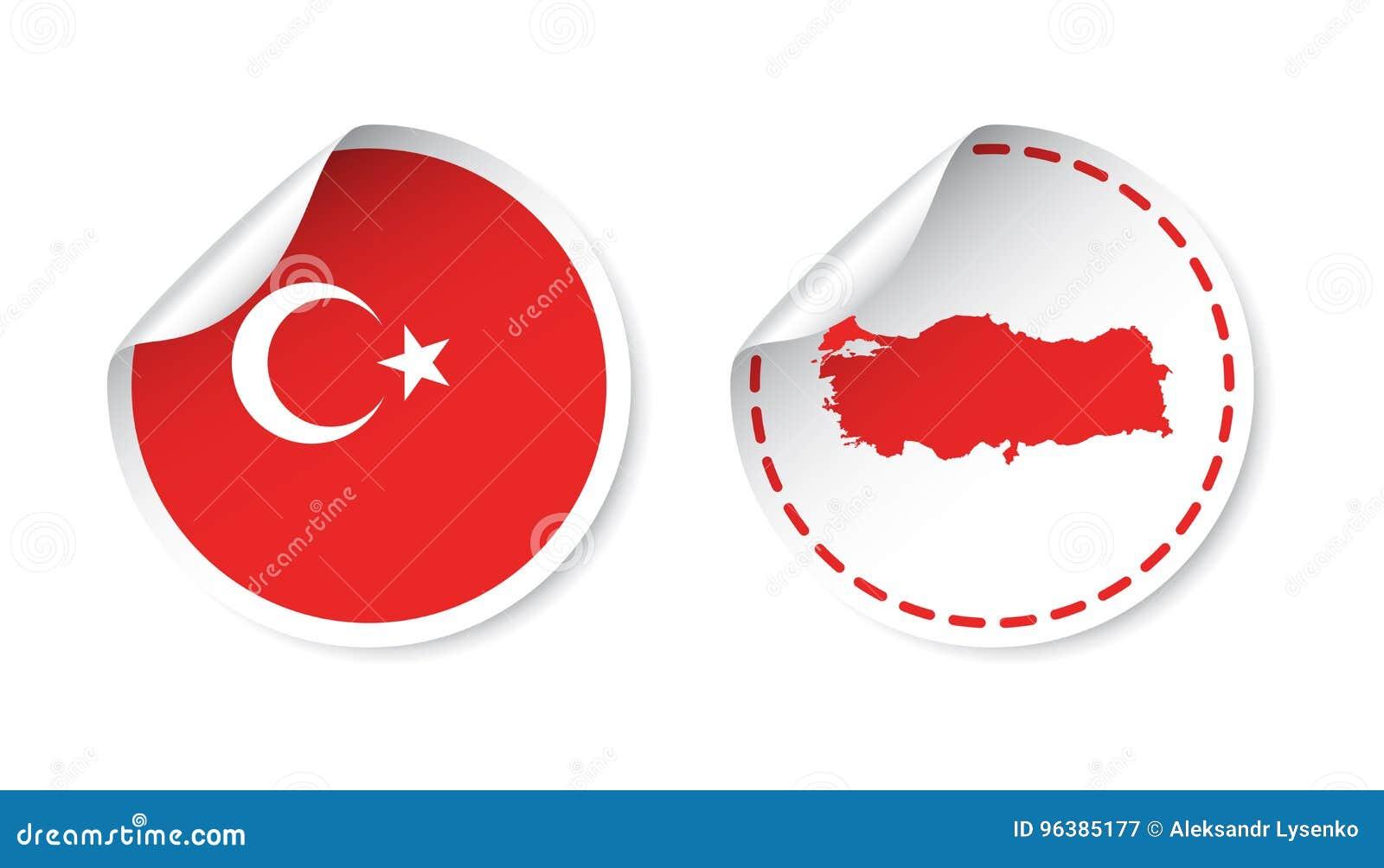 Стикер Турции с флагом и картой Ярлык, круглая бирка с страной