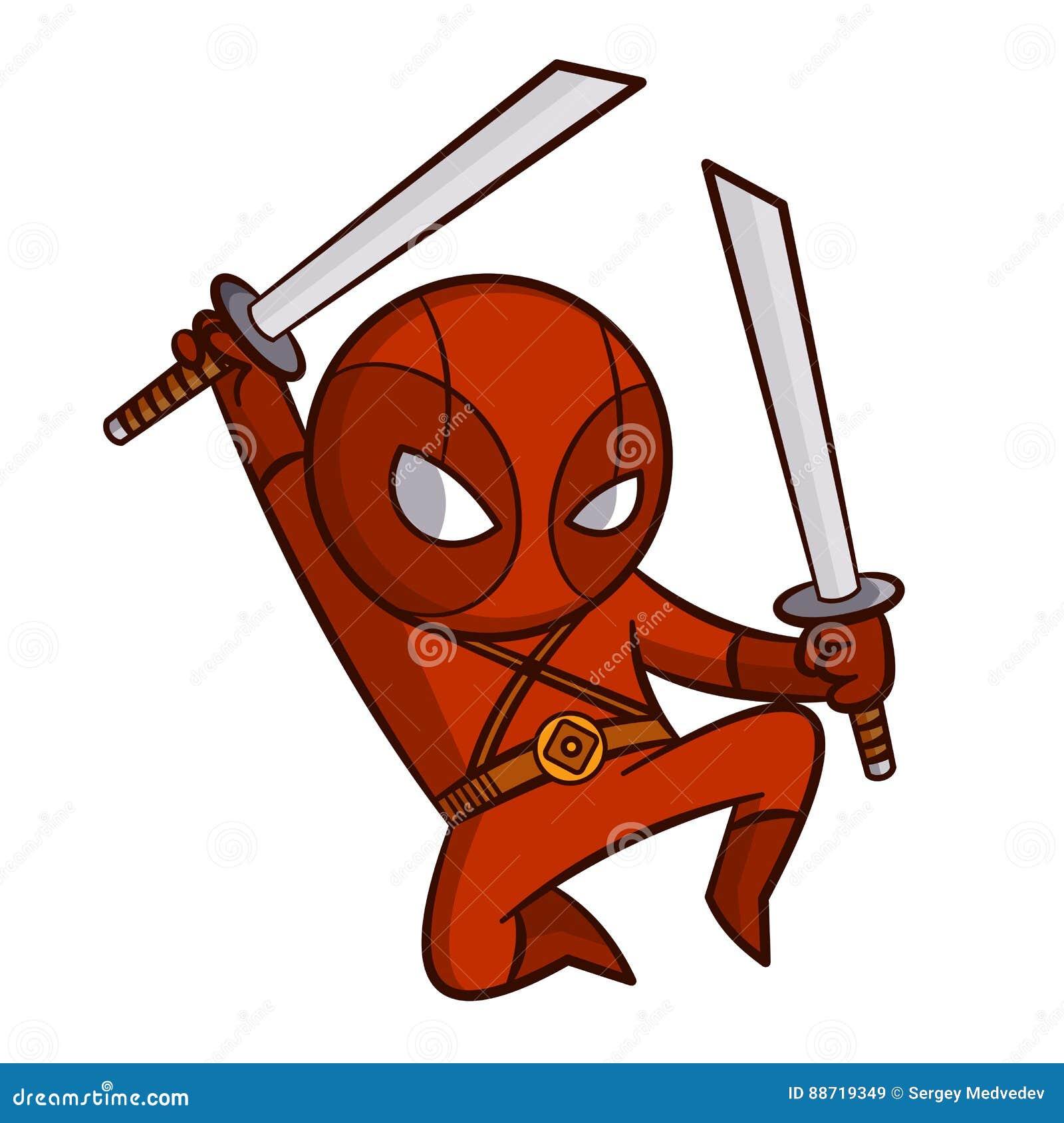 Стикер Ninja супергероя красный