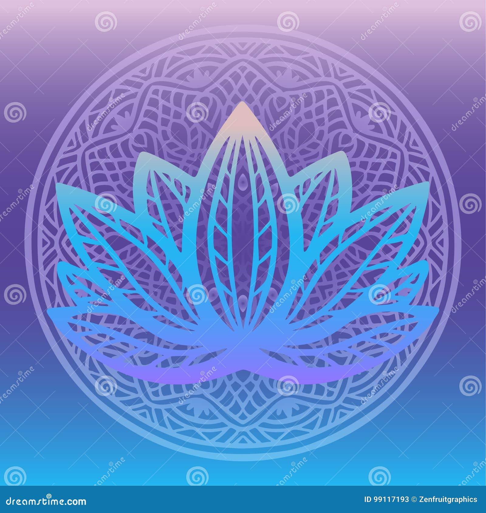 Стилизованный логотип цветка лотоса в тенях голубого и пурпура обрамленных с круглой флористической мандалой на фантазии предпосы