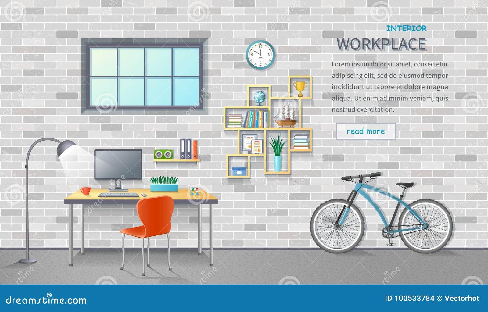 Стильное и современное рабочее место офиса Интерьер комнаты с столом, стулом, монитором, велосипедом съемка кирпича предпосылки б