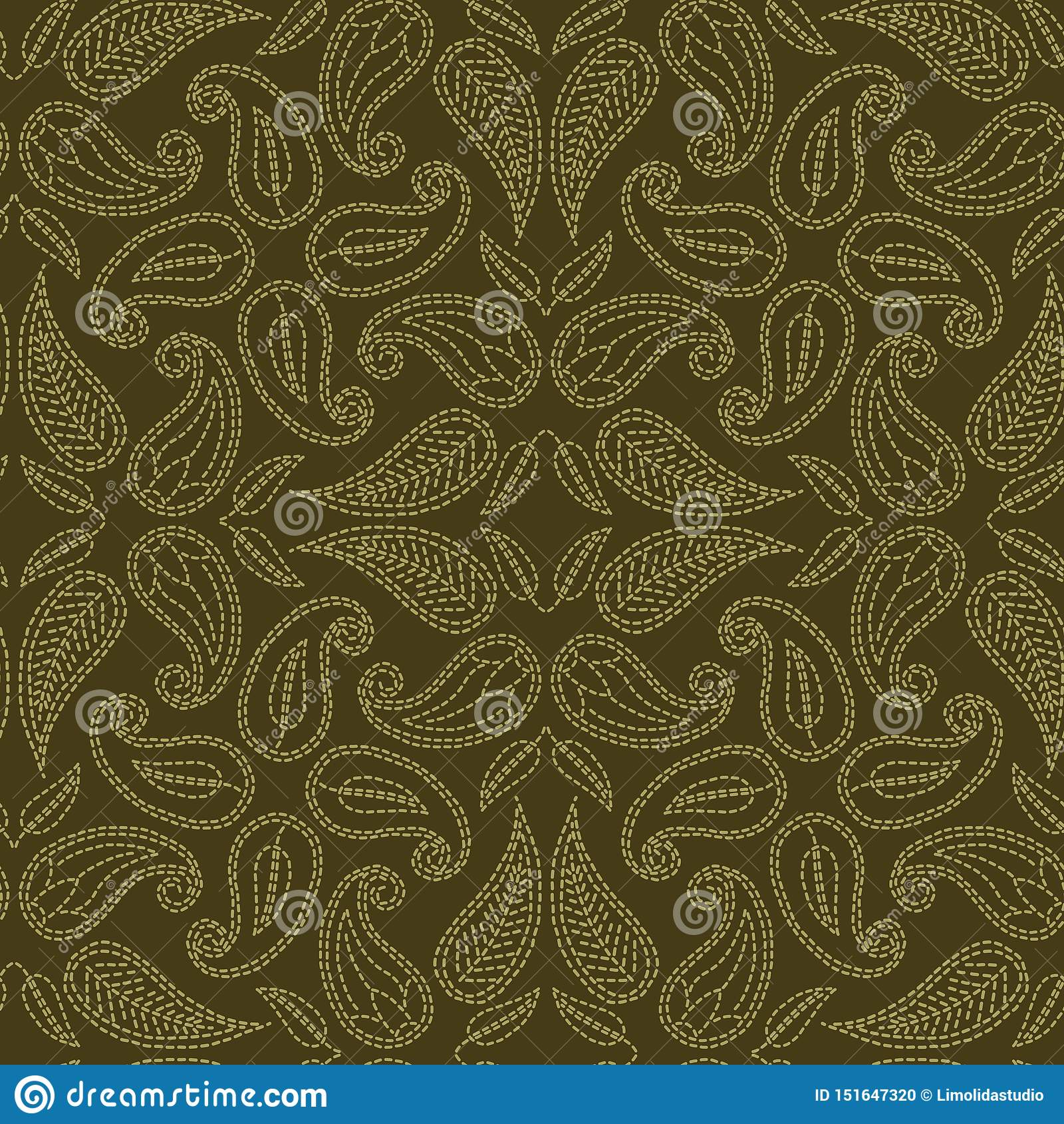 Стиль идущим стежком мотива Пейсли флористических лист Картина вектора викторианского needlework безшовная Рука сшила ткани foula