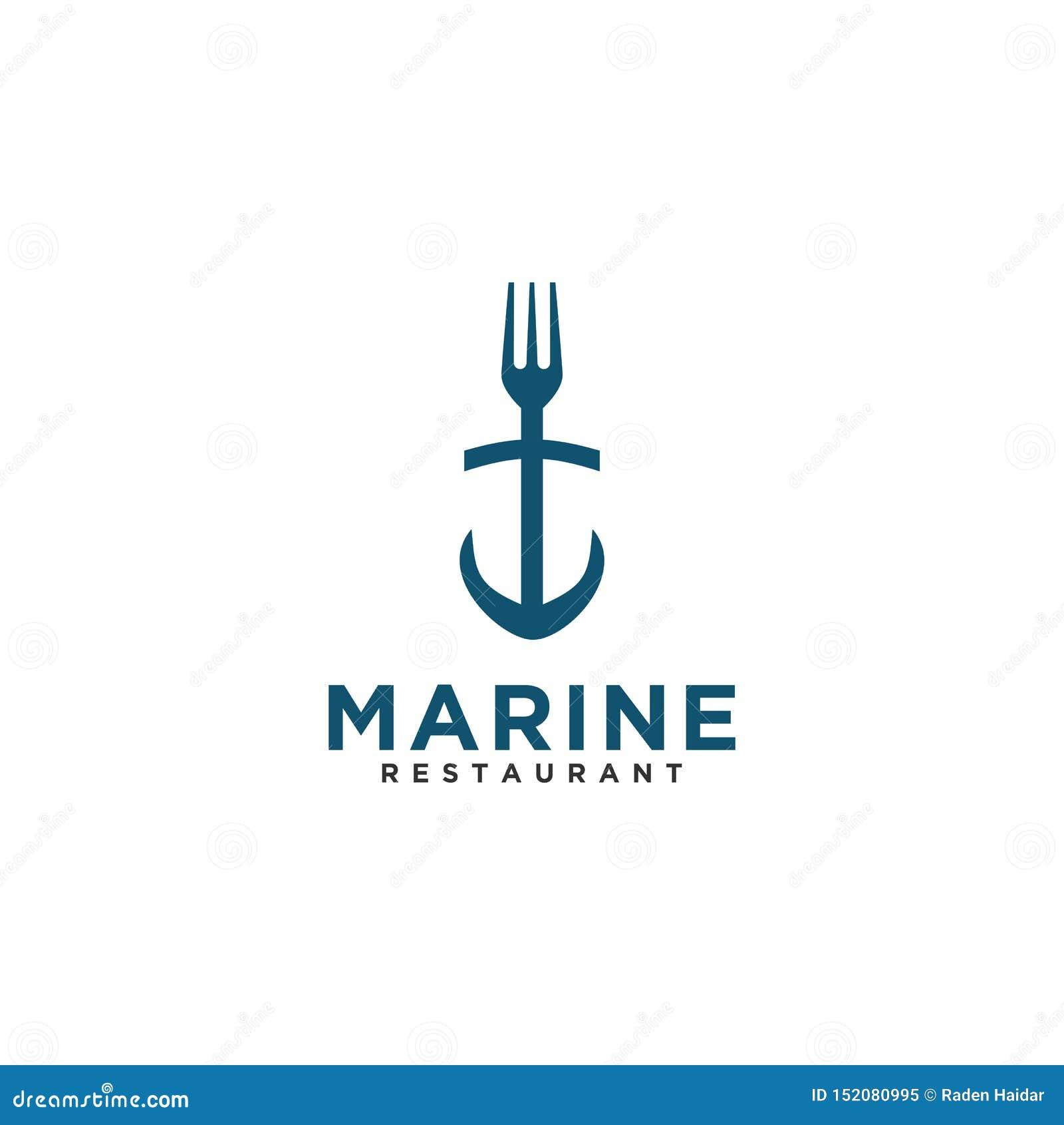 Стиль морского дизайна логотипа ресторана вилки ретро