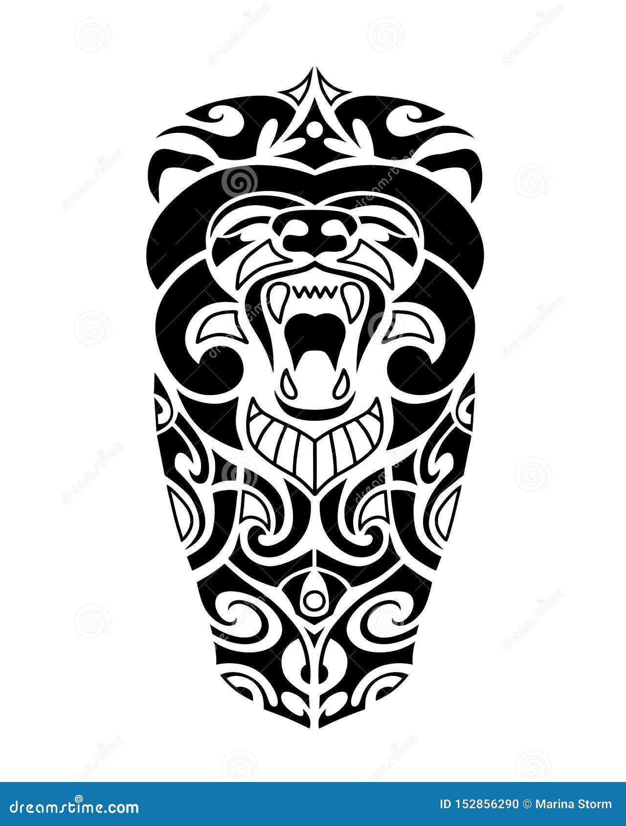 Стиль эскиза татуировки маорийский с головой медведя