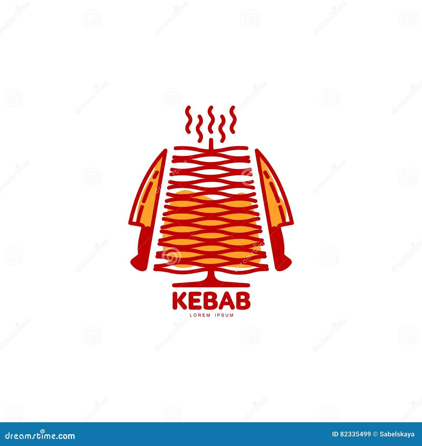 Стилизованное горячее, свеже зажаренное турецкое kebab doner, шаблон логотипа shawarma