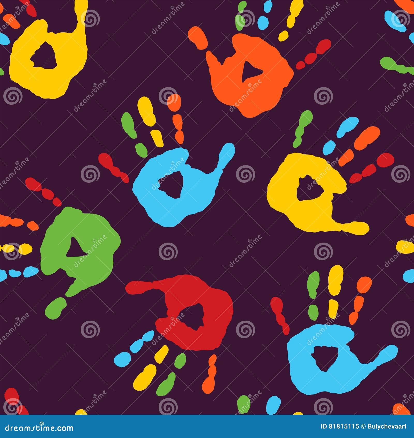 Стильная безшовная картина с печатями рук ` s детей