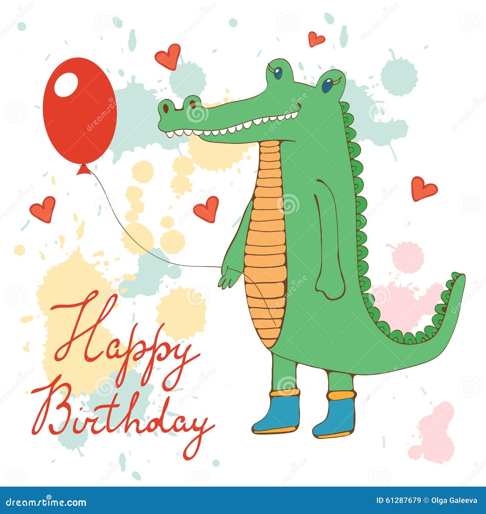 Открытка с днем рождения крокодил