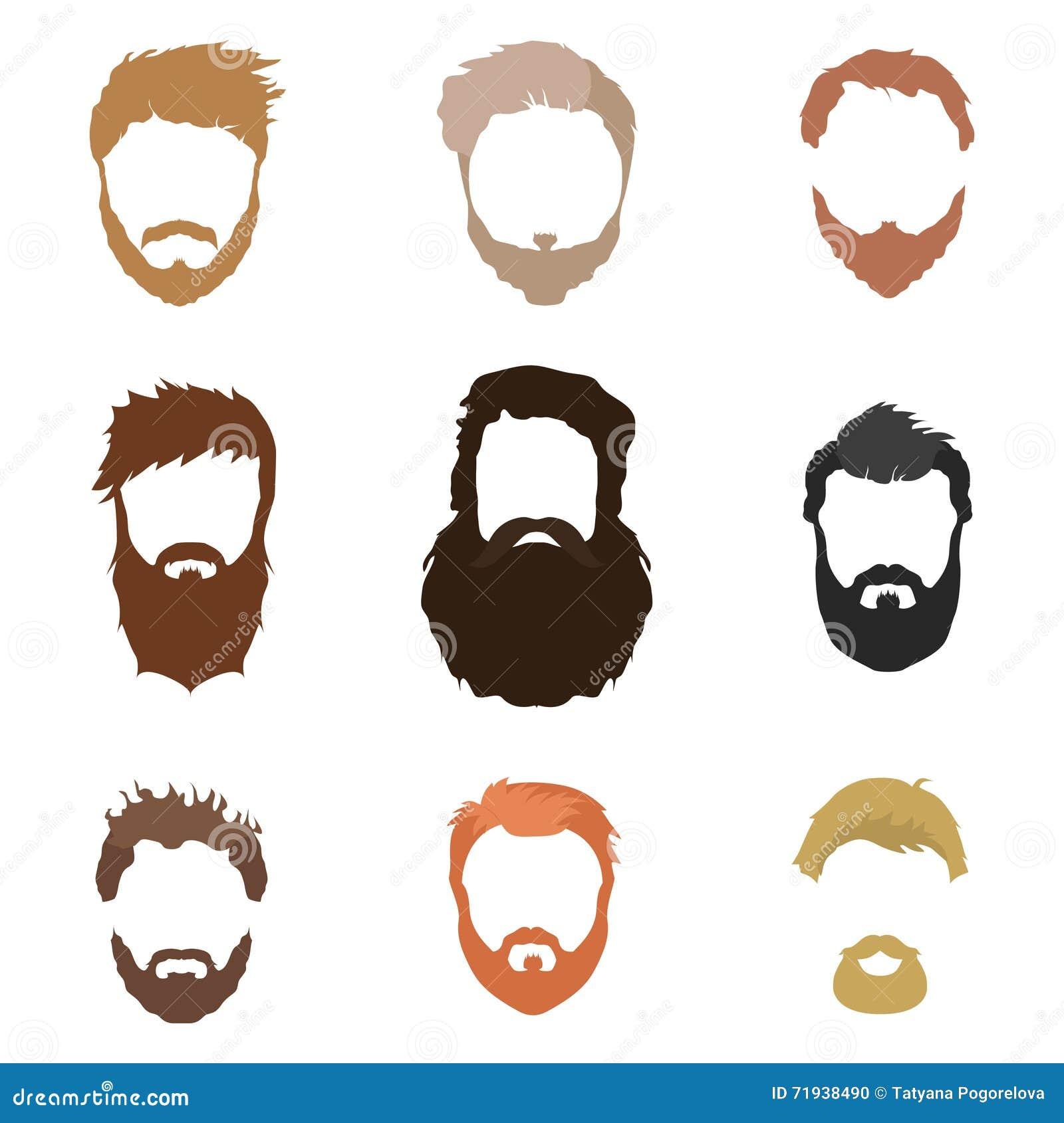 Стиль причёсок модных людей, борода, сторона, волосы, маски выреза, собрание плоских значков
