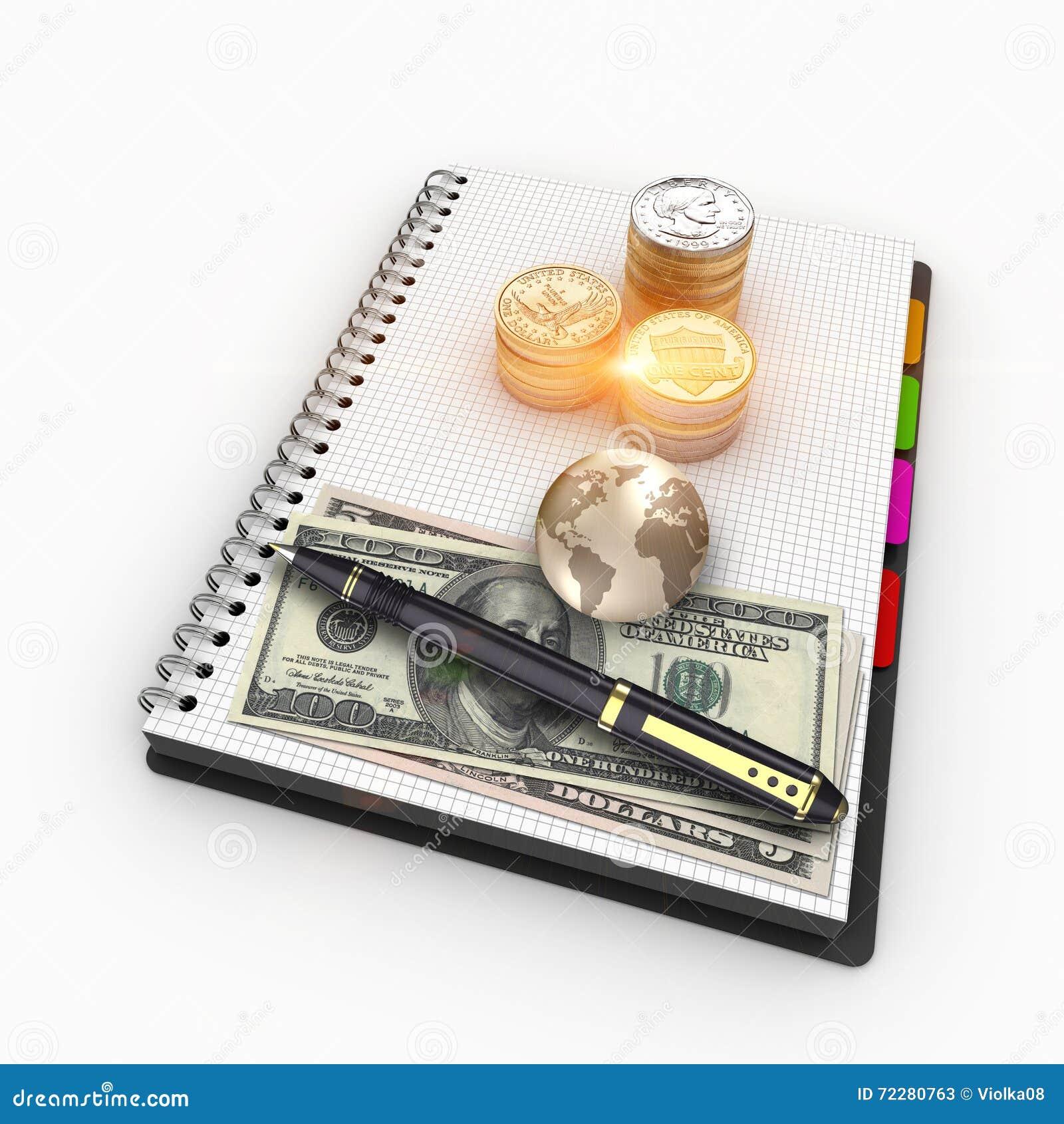 стога перевода 3D валюты США для финансов и банка