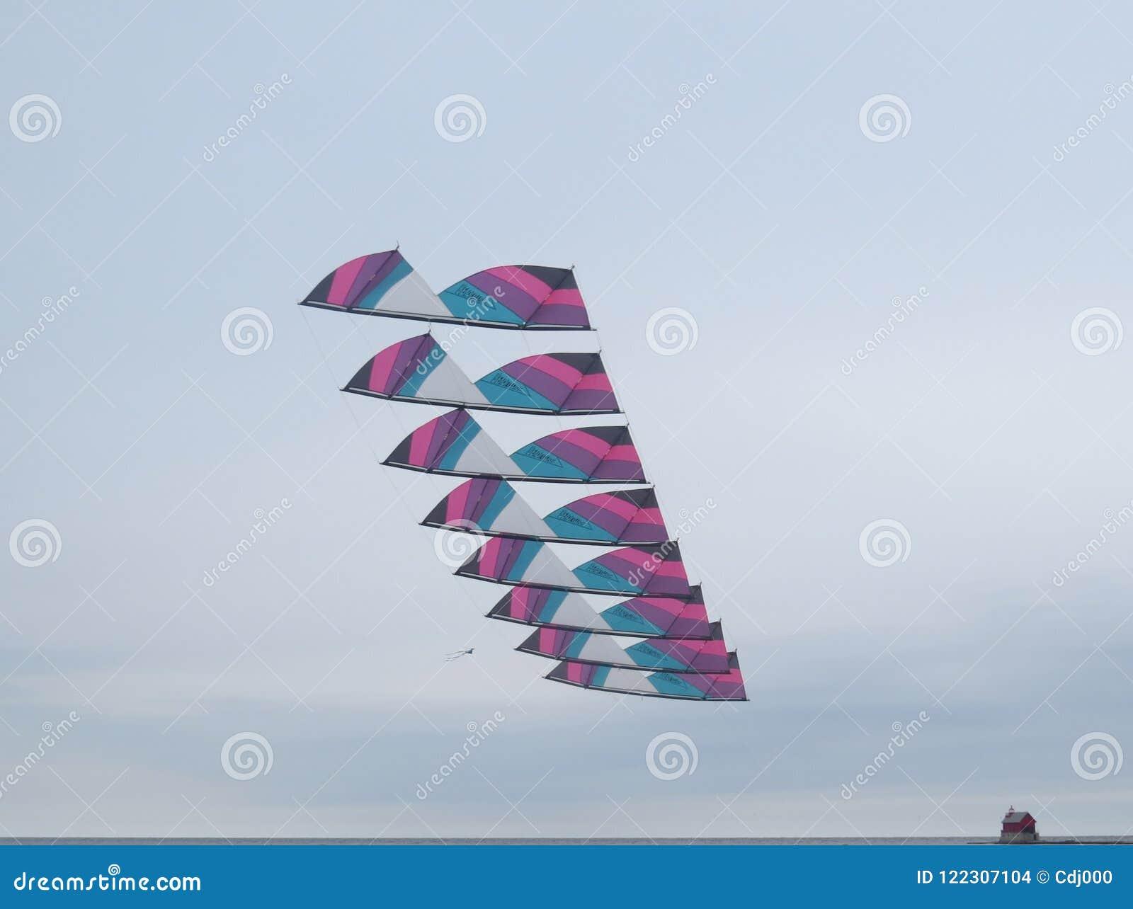 Стог змеев эффектного выступления революции летает над Lake Michigan