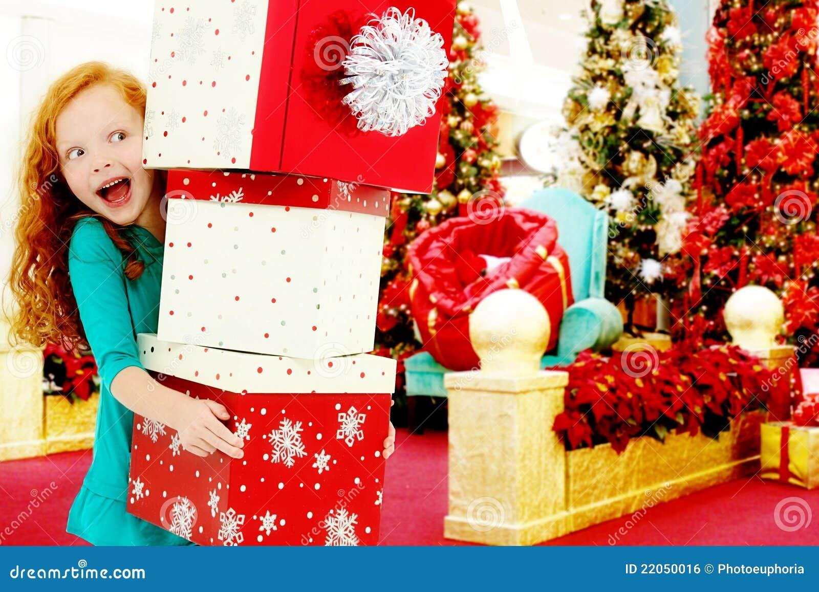 стог покупкы мола рождества ребенка коробок