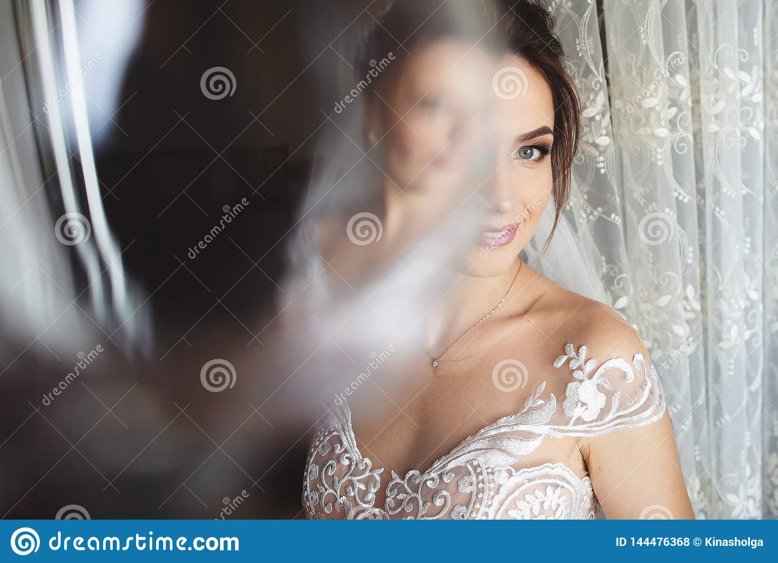 Красивый стиль невесты Стойка девушки свадьбы в роскошном платье свадьбы около окна