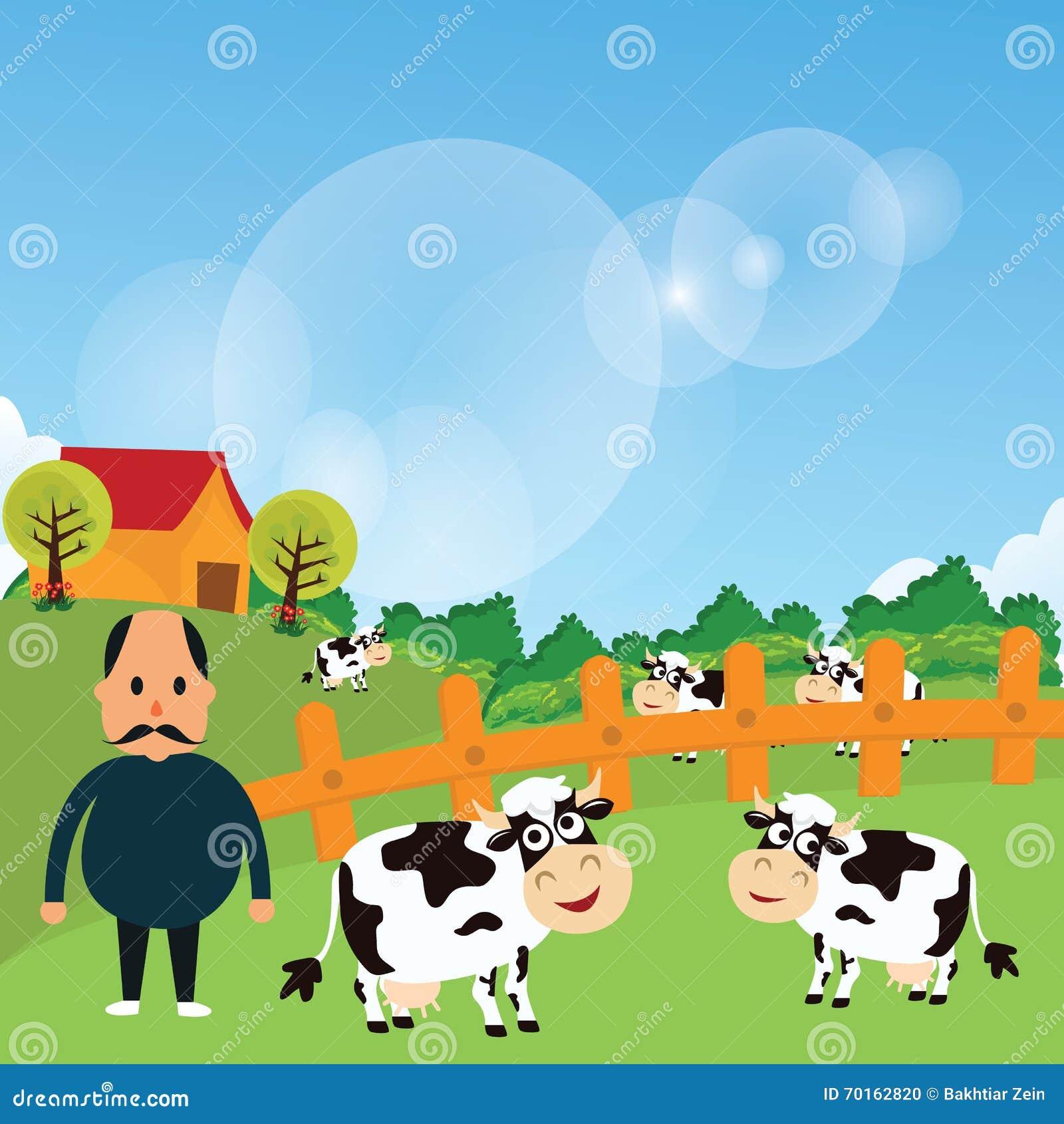 Стойка фермера с его скотинами коровы фермы ест траву в зеленой иллюстрации чертежа вектора шаржа поля