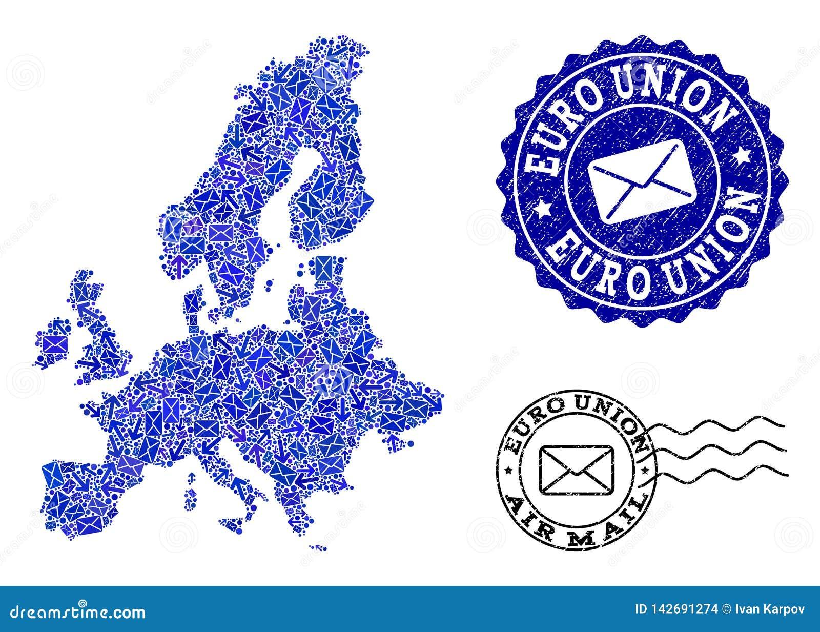Столб направляет состав карты мозаики уплотнений соединения и дистресса евро