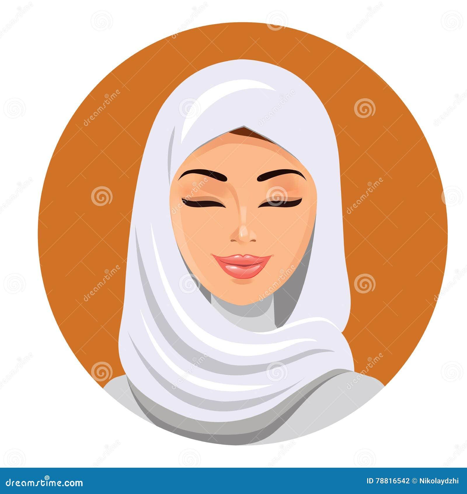 Сторона арабской мусульманской женщины, иллюстрации вектора Портрет арабской красивой женщины в белом hijab
