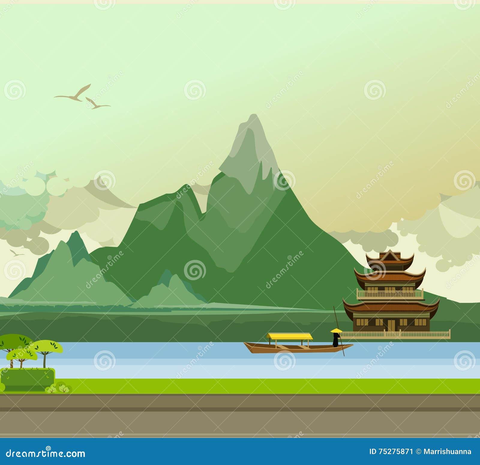 Сторона буддийского виска реки