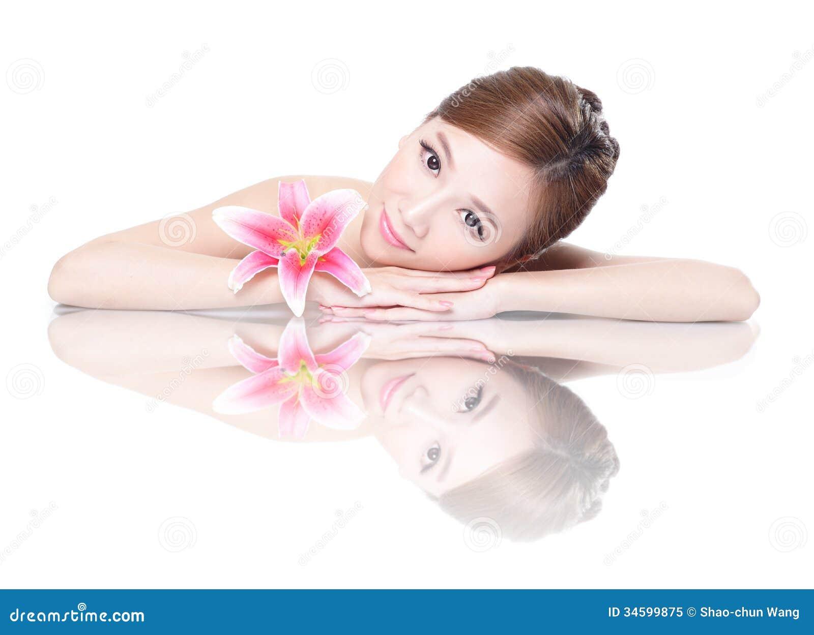 Сторона женщины красоты с цветком