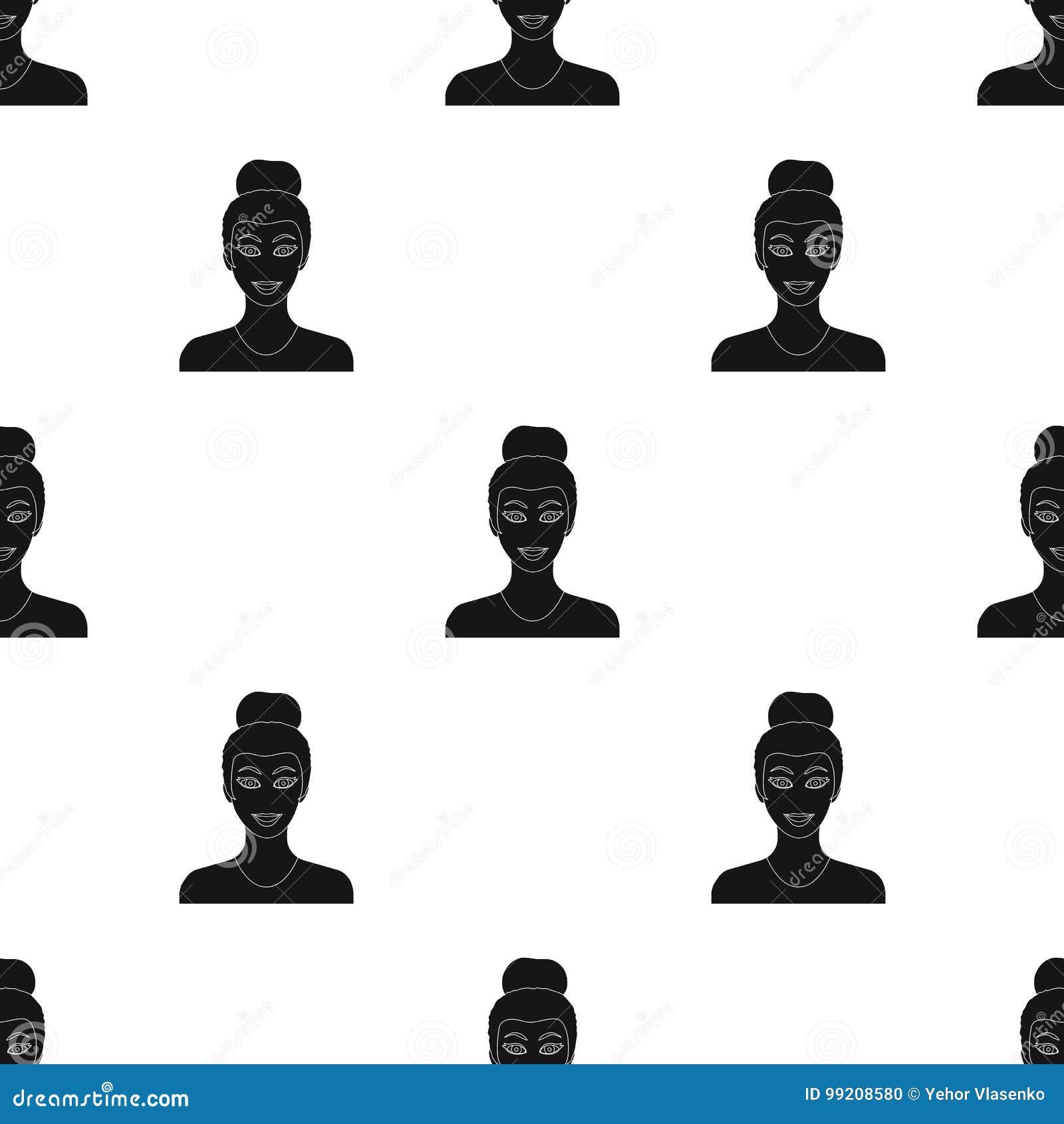Сторона женщины с hairdo Сторона и значок возникновения одиночный в черном стиле vector сеть иллюстрации запаса символа