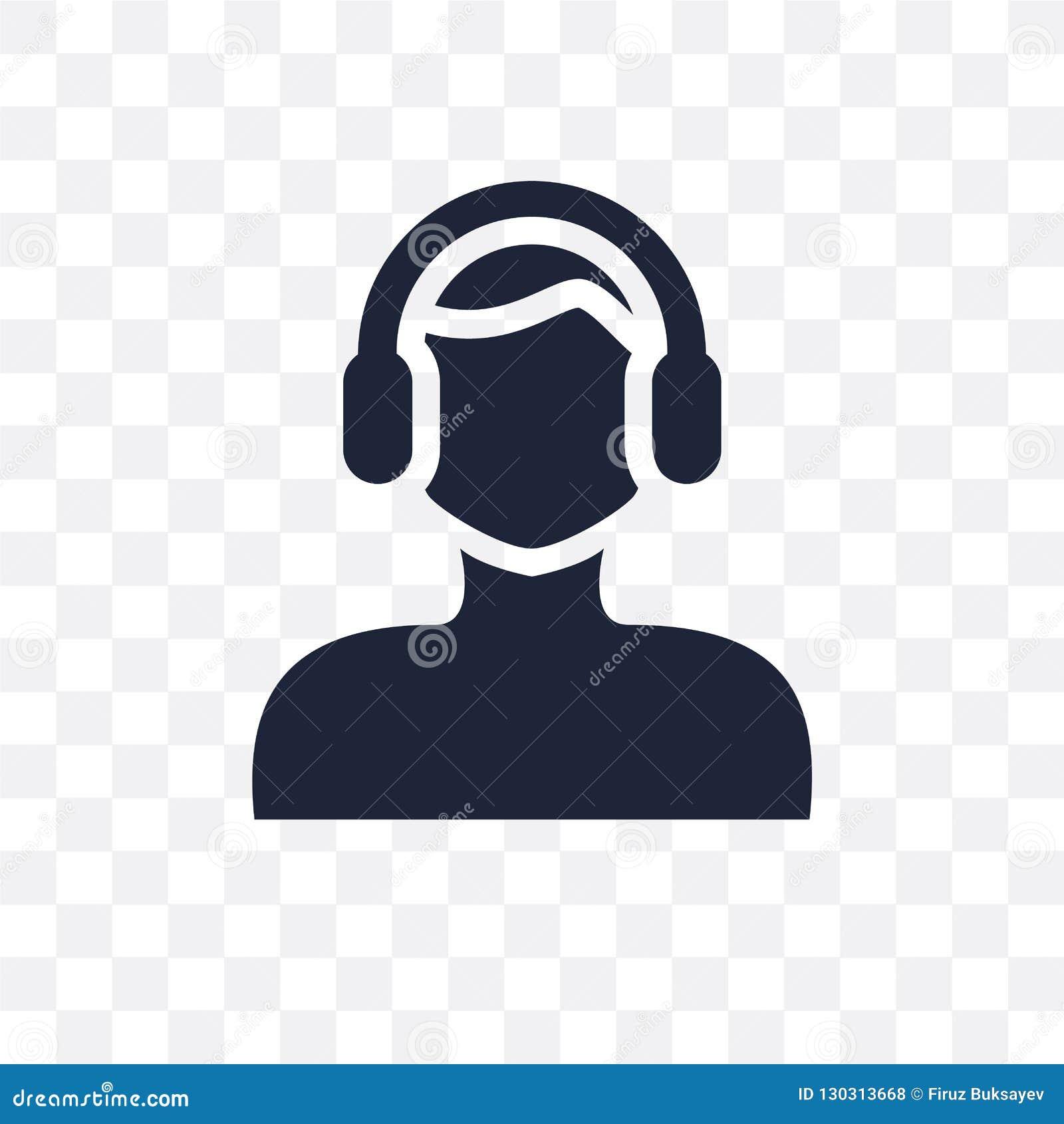 Сторона человека со значком наушников прозрачным Сторона человека с headpho