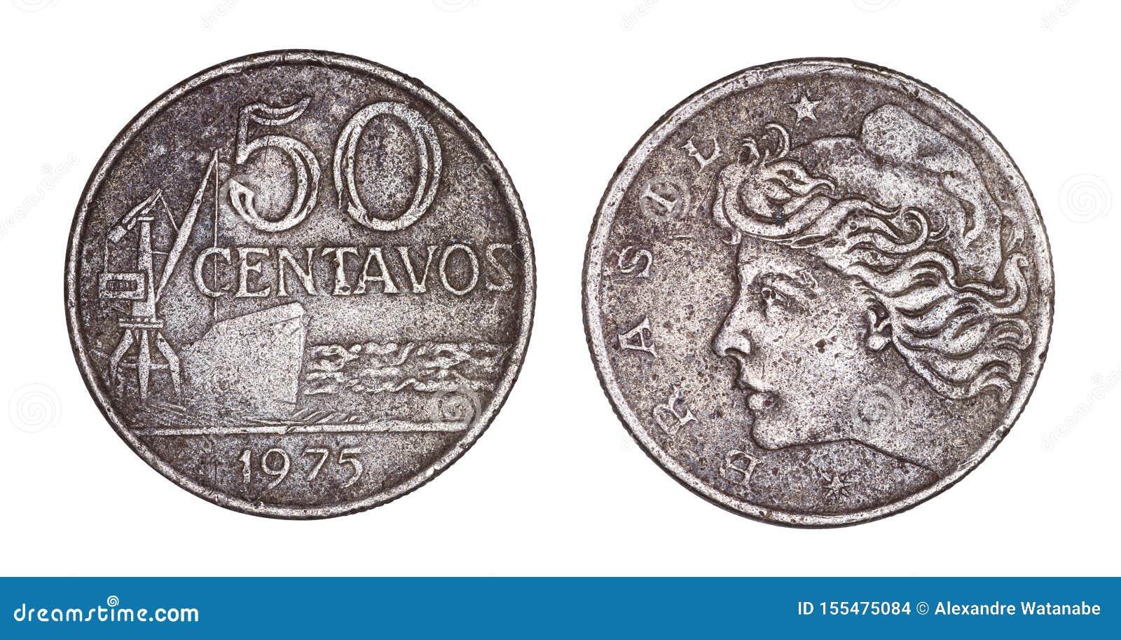 Стороны монетки 50 центов cruzeiros бразильские старые, передних и задних изолированные на белой предпосылке