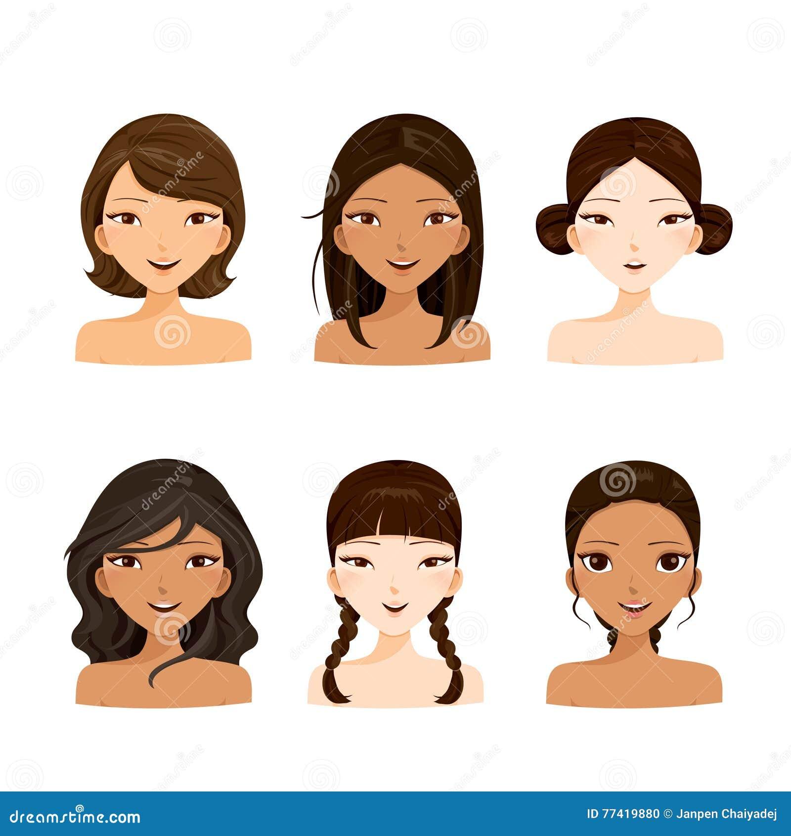 Стороны молодых женщин с различными стилями причёсок и комплектом кожи
