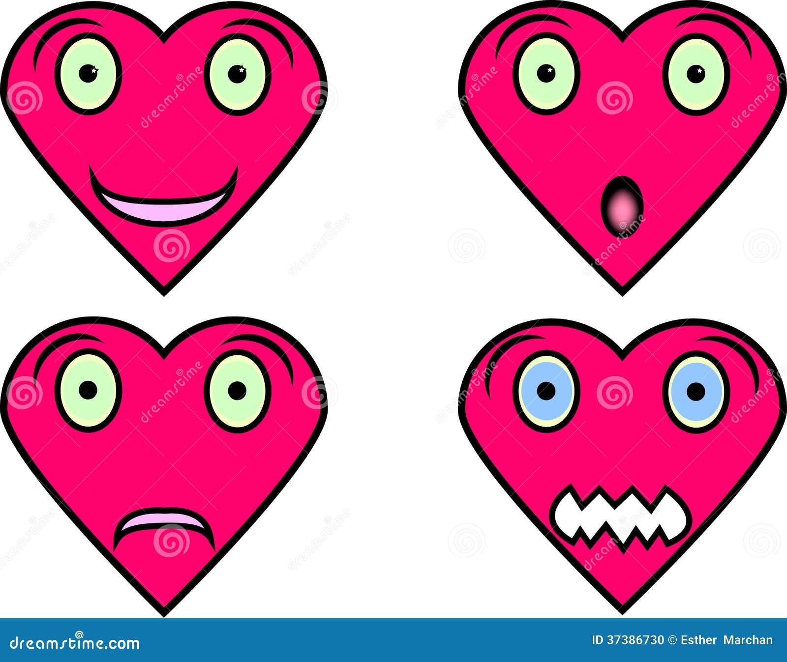 Стороны сердца форменные с различными выражениями