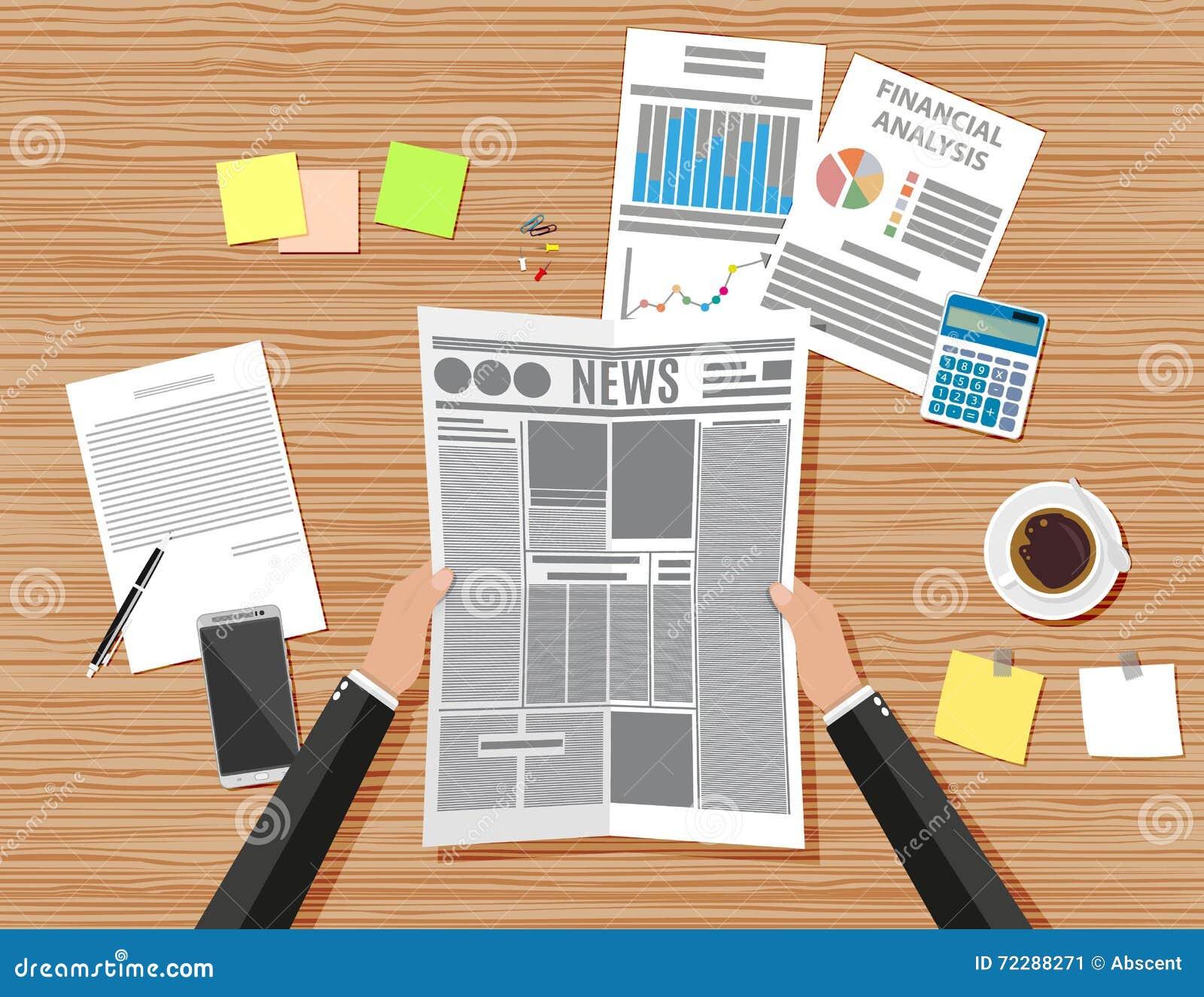 Download Стол рабочего места бизнесмена деревянный Иллюстрация вектора - иллюстрации насчитывающей финансы, бумага: 72288271