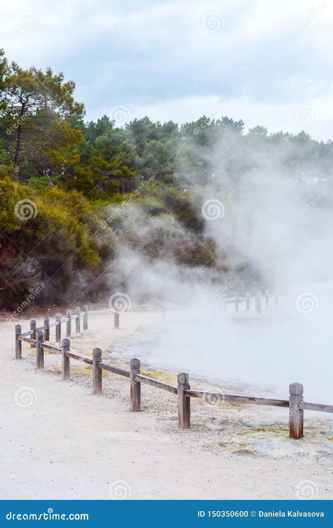Страна чудес Новая Зеландия Wai-O-Tapu термальная