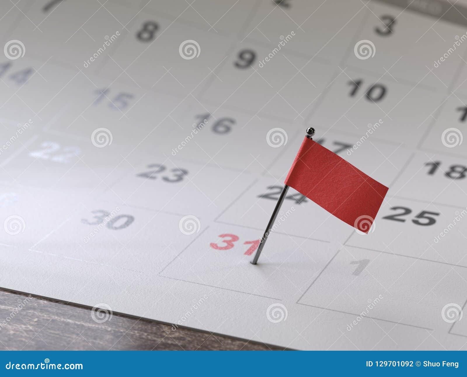 Страница календаря со штырем