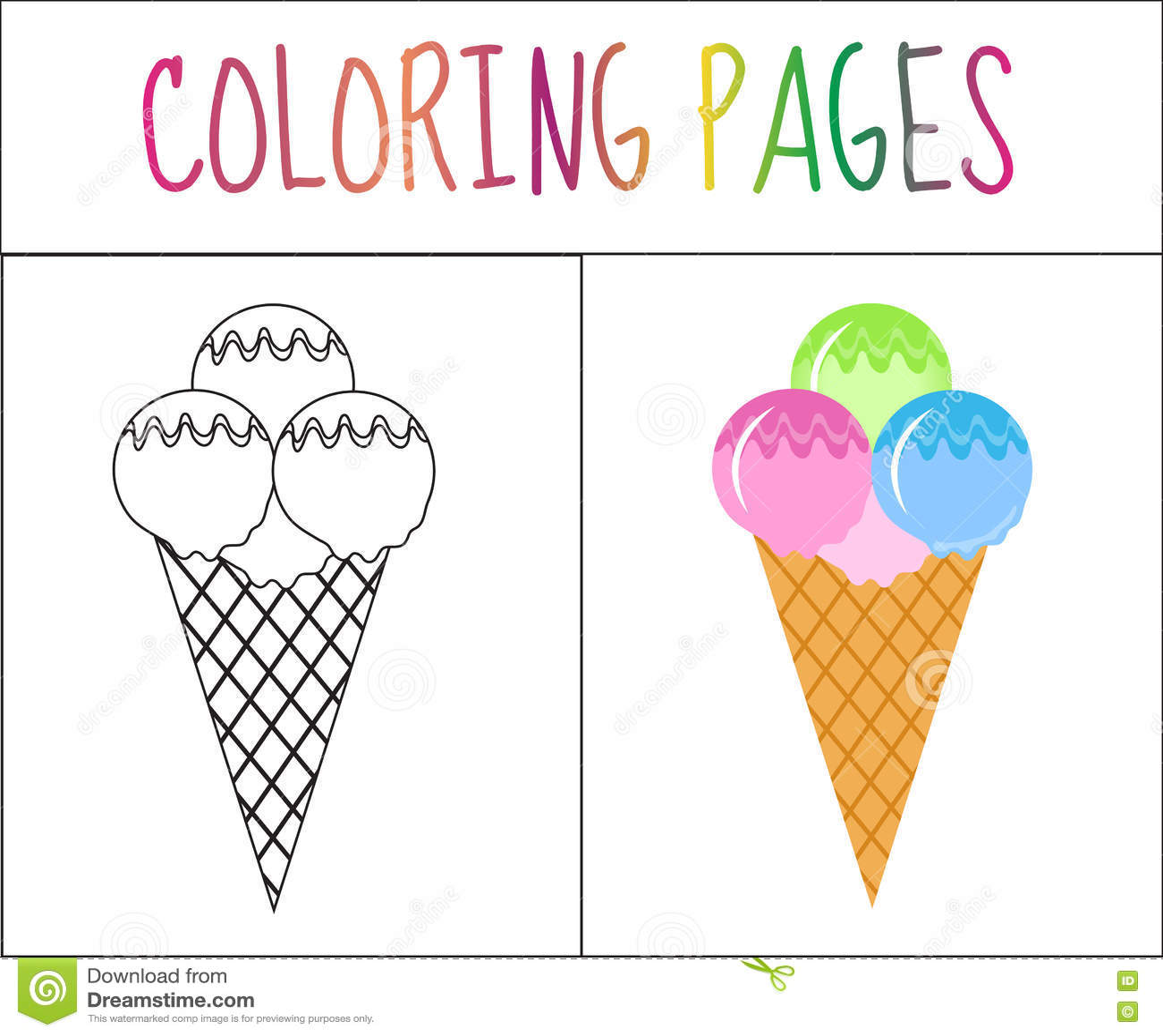 Страница книжка-раскраски конусы шоколада предпосылки cream мороженое льда над белизной ванили клубники фисташки Версия эскиза и