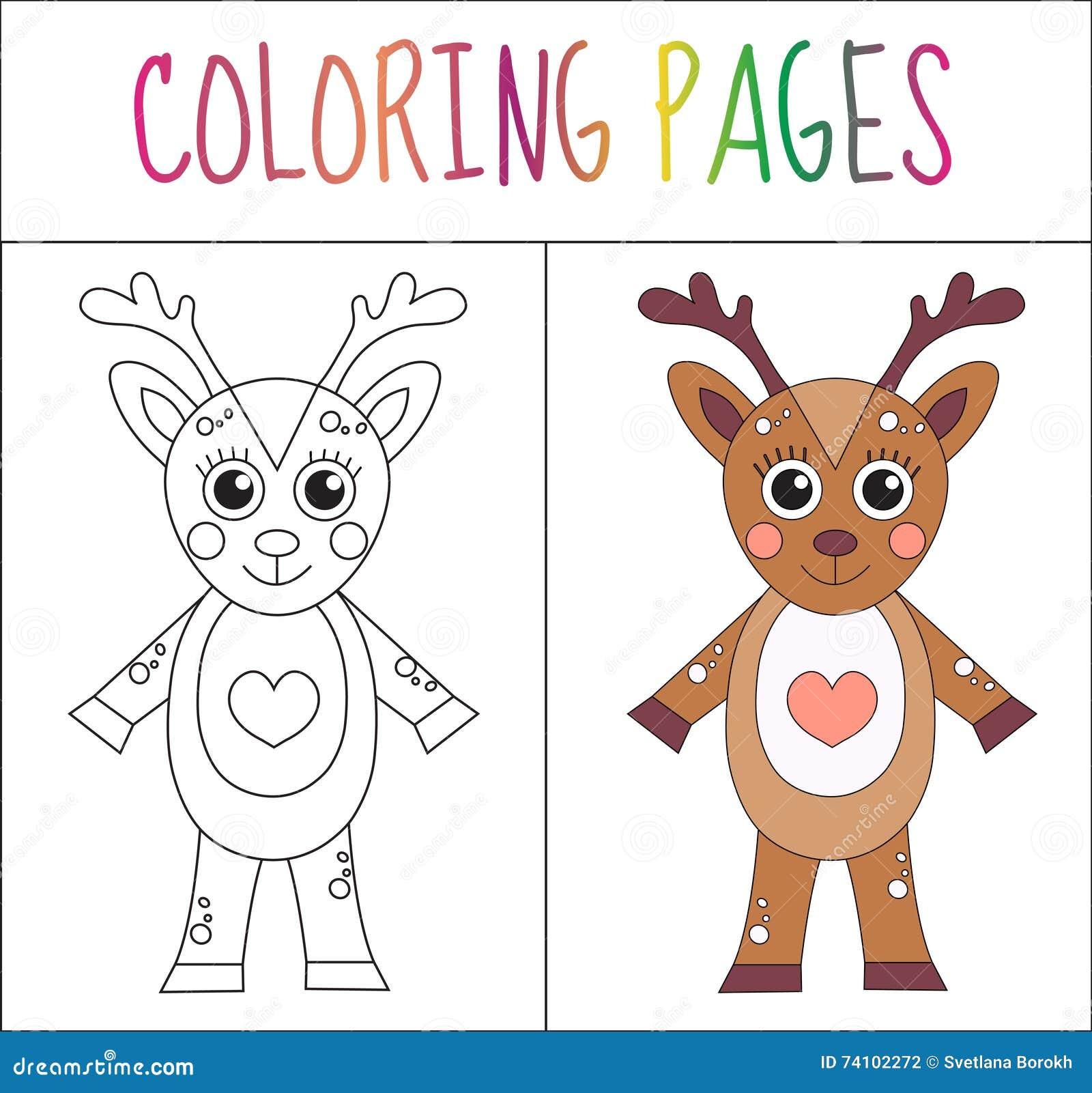 Страница книжка-раскраски Олени Версия эскиза и цвета расцветка для детей также вектор иллюстрации притяжки corel