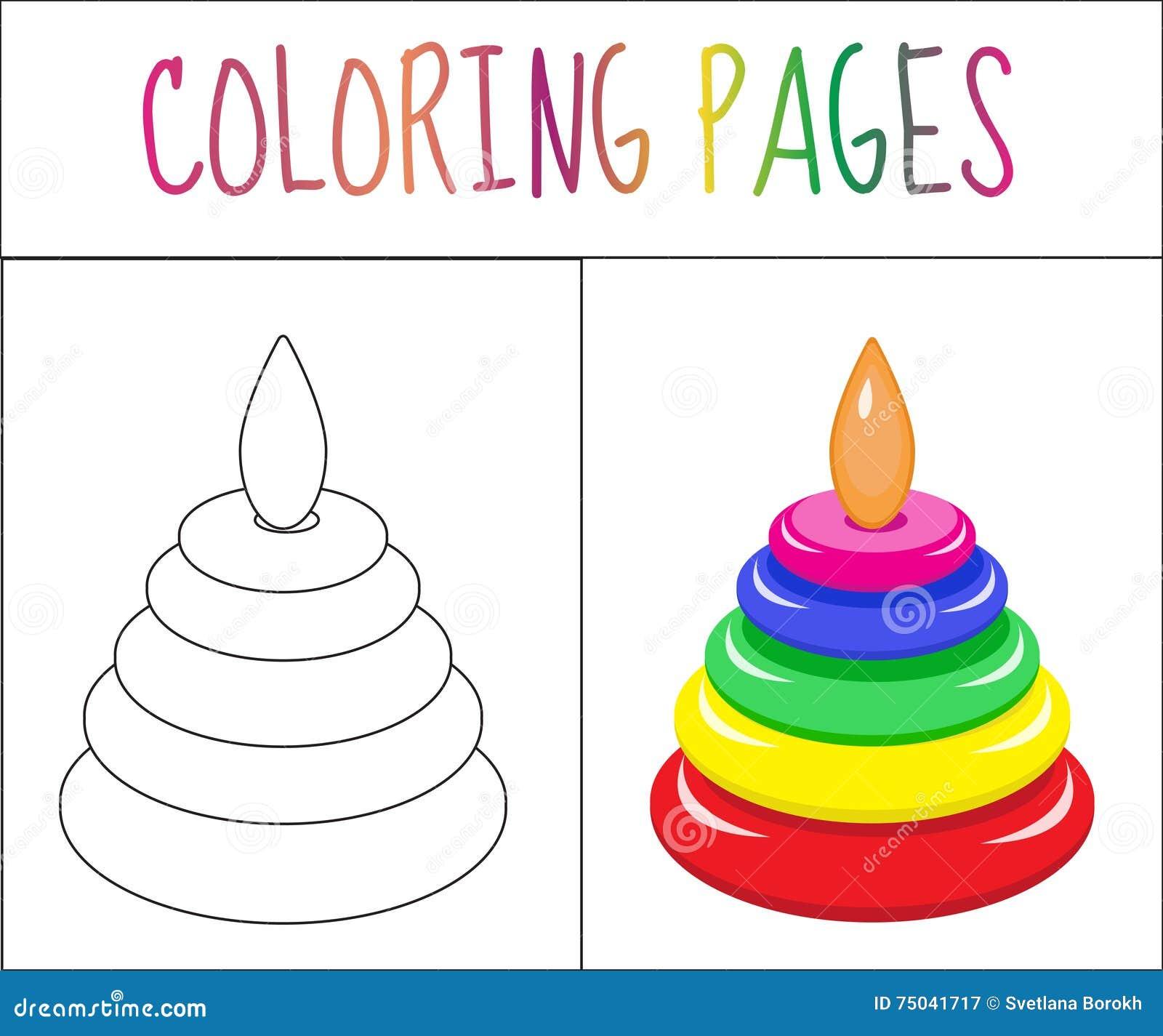 Страница книжка-раскраски Пирамида игрушки Версия эскиза и цвета расцветка для детей также вектор иллюстрации притяжки corel