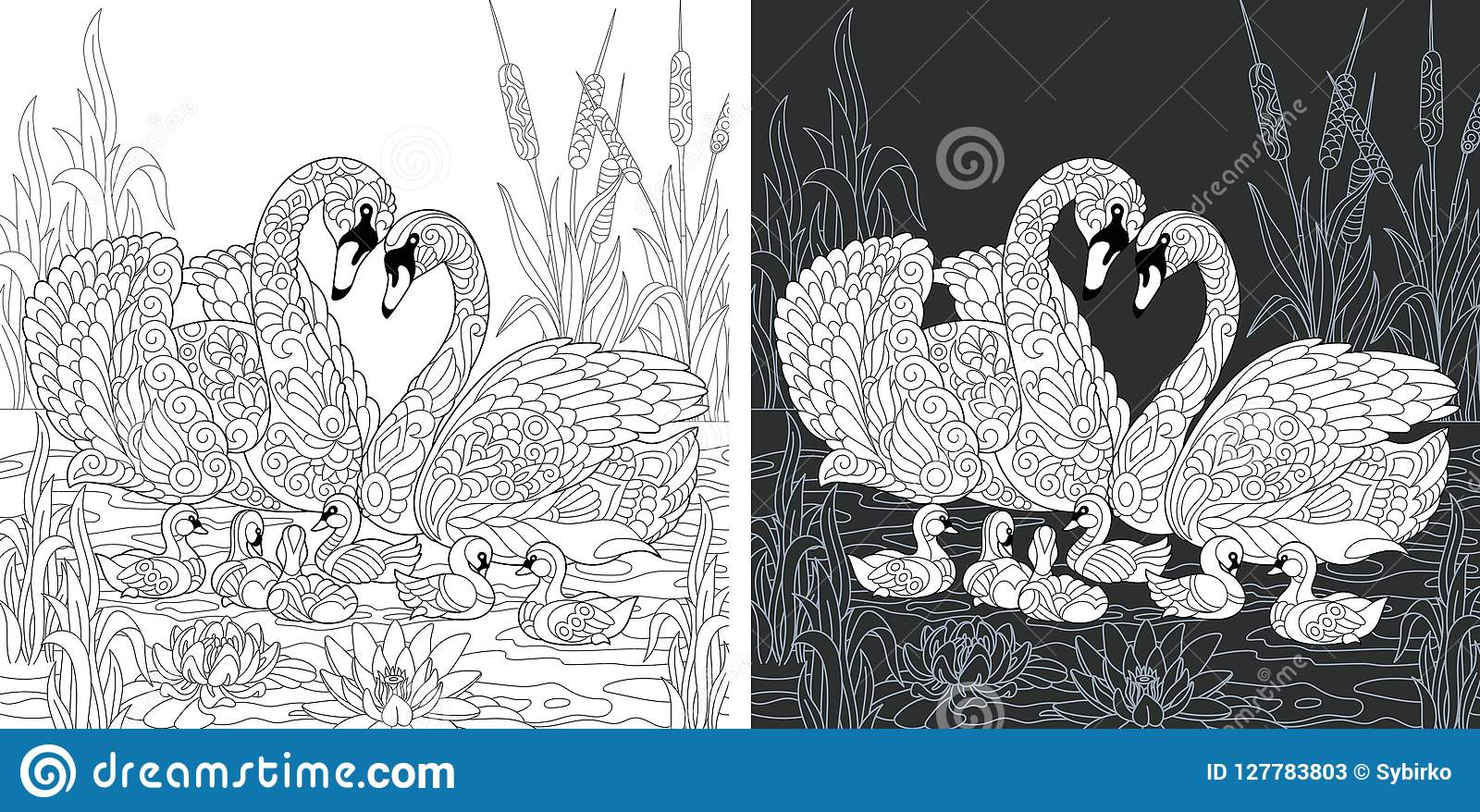 страница книжка раскраски с семьей лебедя иллюстрация